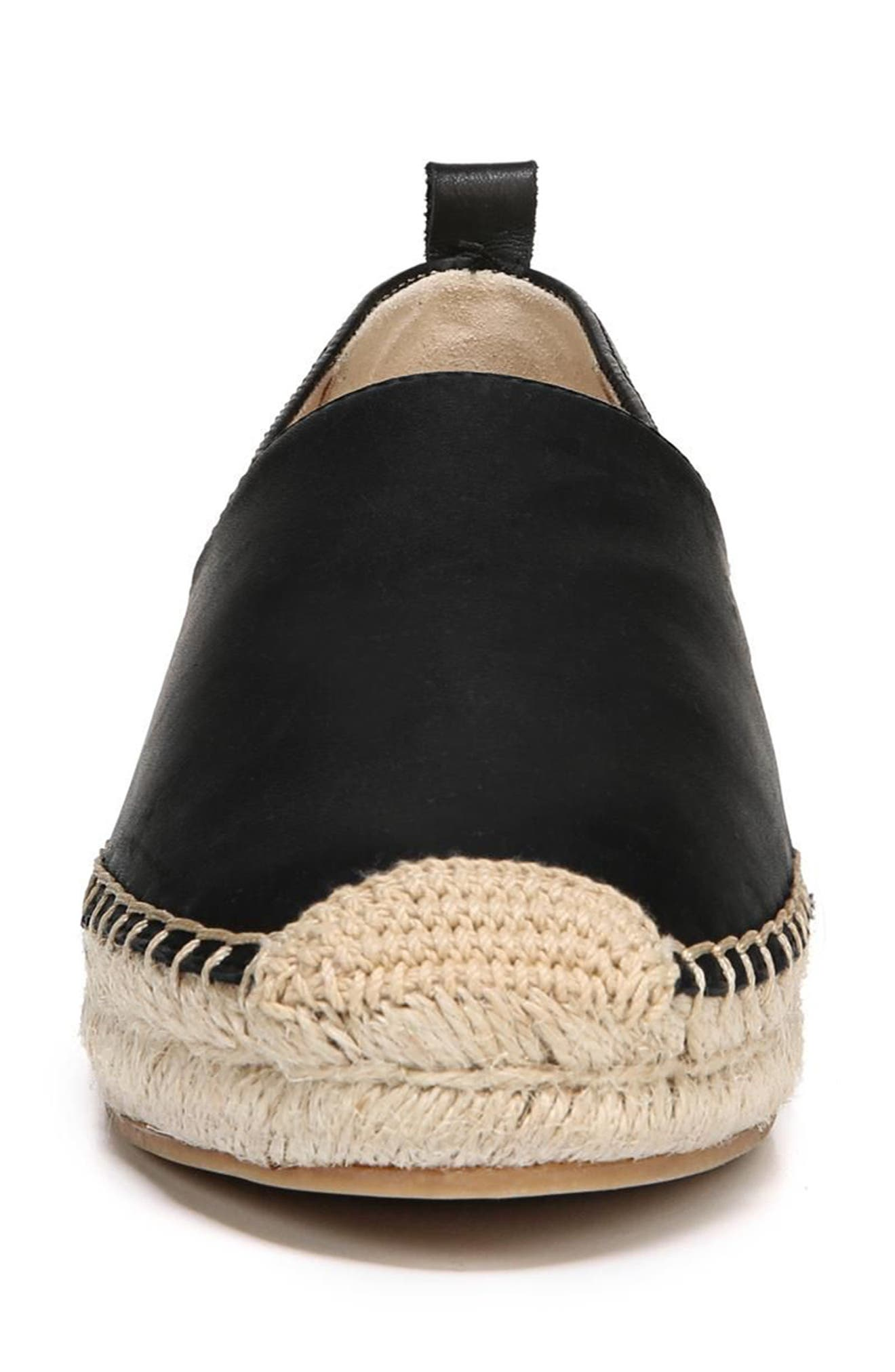 SAM EDELMAN, Khloe Espadrille Flat, Alternate thumbnail 4, color, BLACK LEATHER