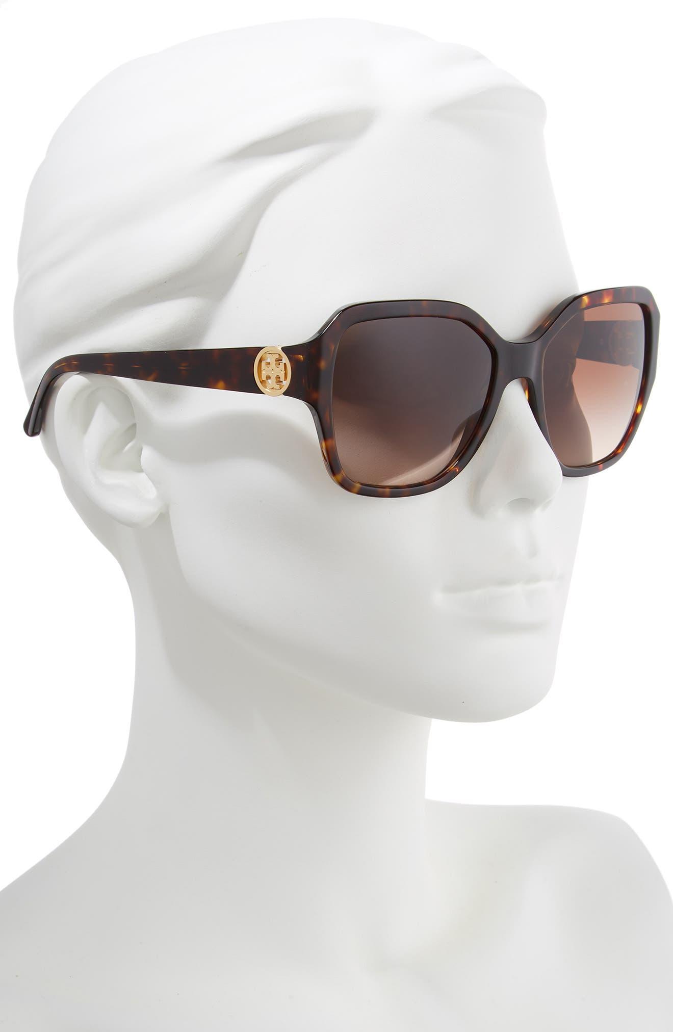 TORY BURCH, Reva 56mm Square Sunglasses, Alternate thumbnail 2, color, DARK TORTOISE GRADIENT