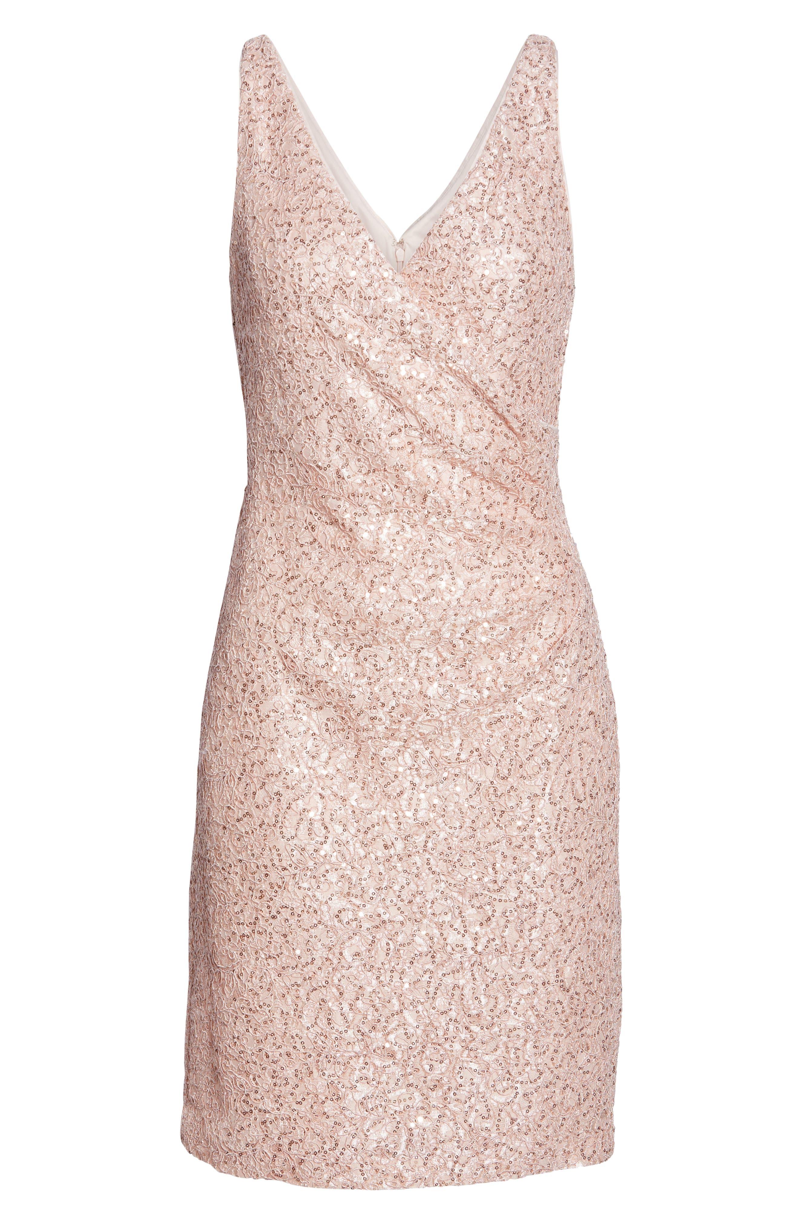 VINCE CAMUTO, Sleeveless V-Neck Embellished Cocktail Dress, Alternate thumbnail 7, color, BLUSH