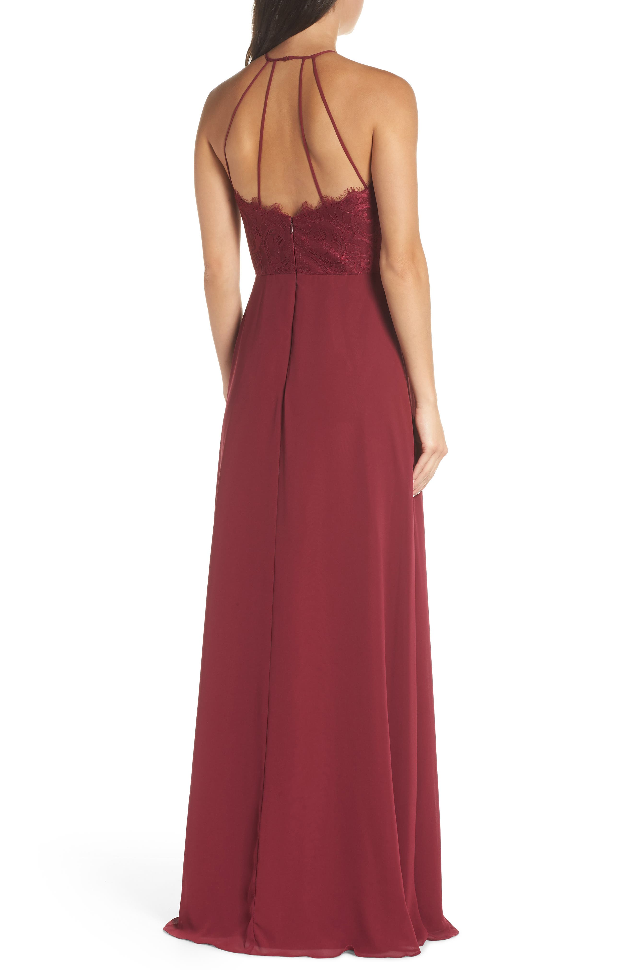 HAYLEY PAIGE OCCASIONS, Lace & Chiffon Halter Gown, Alternate thumbnail 2, color, BURGUNDY