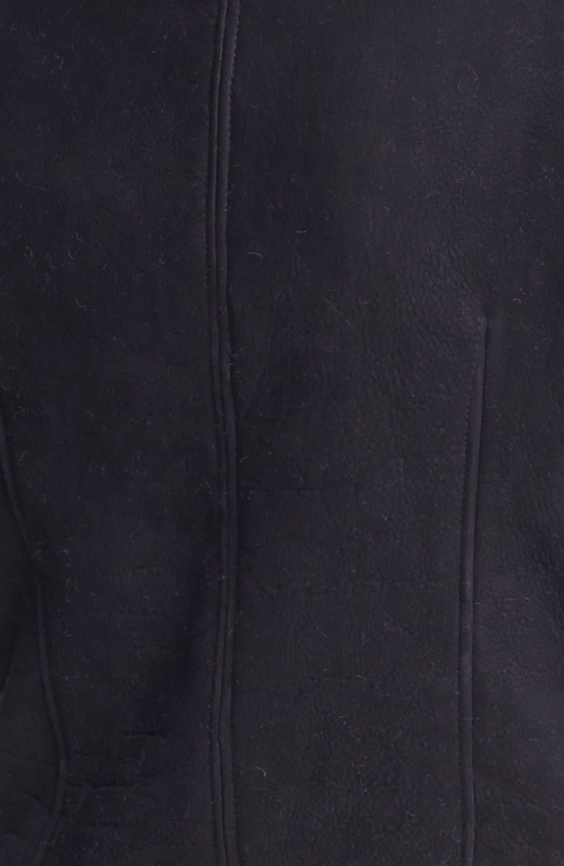 VEDA, 'Mania' Genuine Shearling Moto Jacket, Alternate thumbnail 4, color, 001