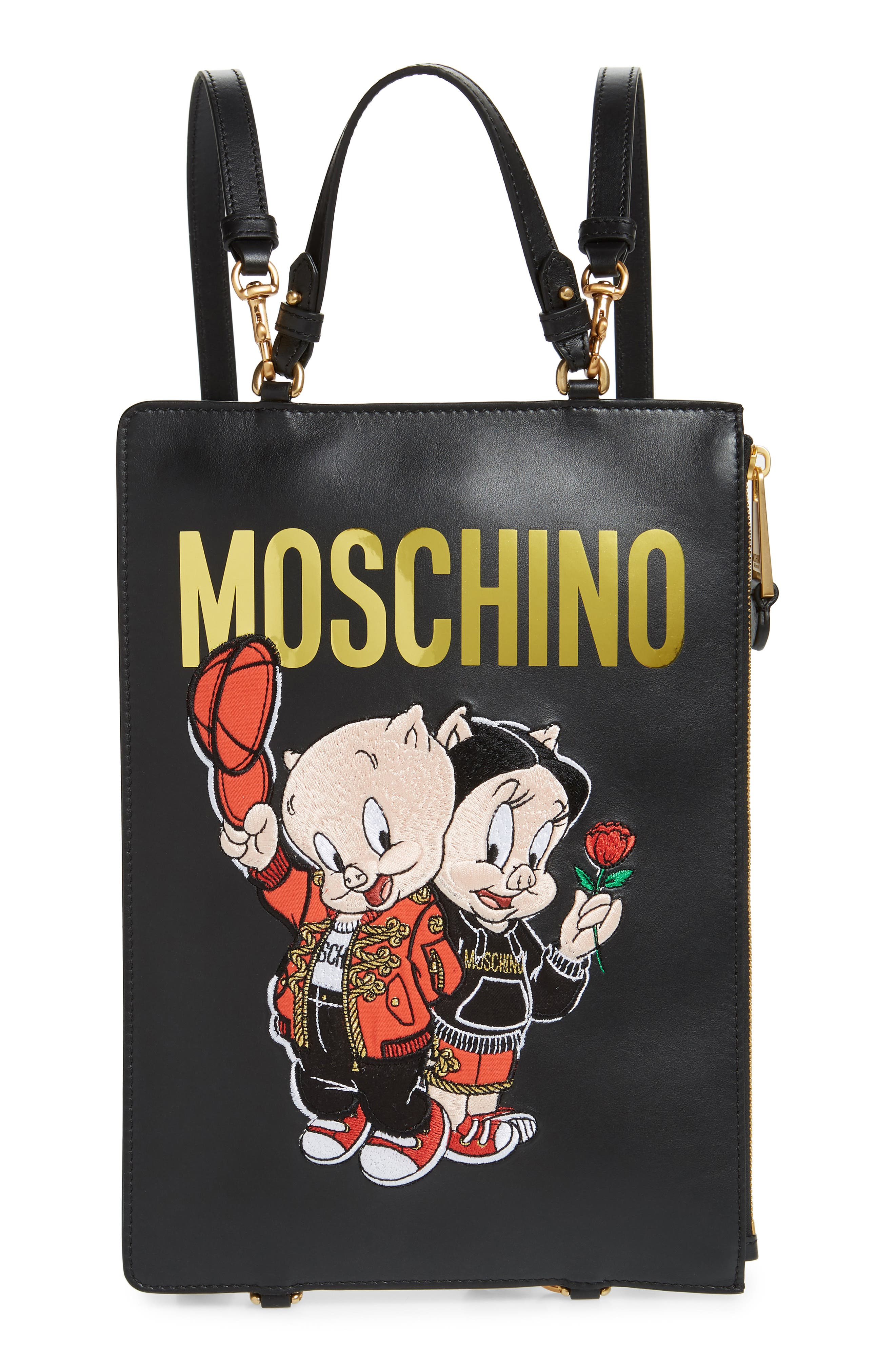 MOSCHINO Porky Pig Convertible Backpack, Main, color, BLACK
