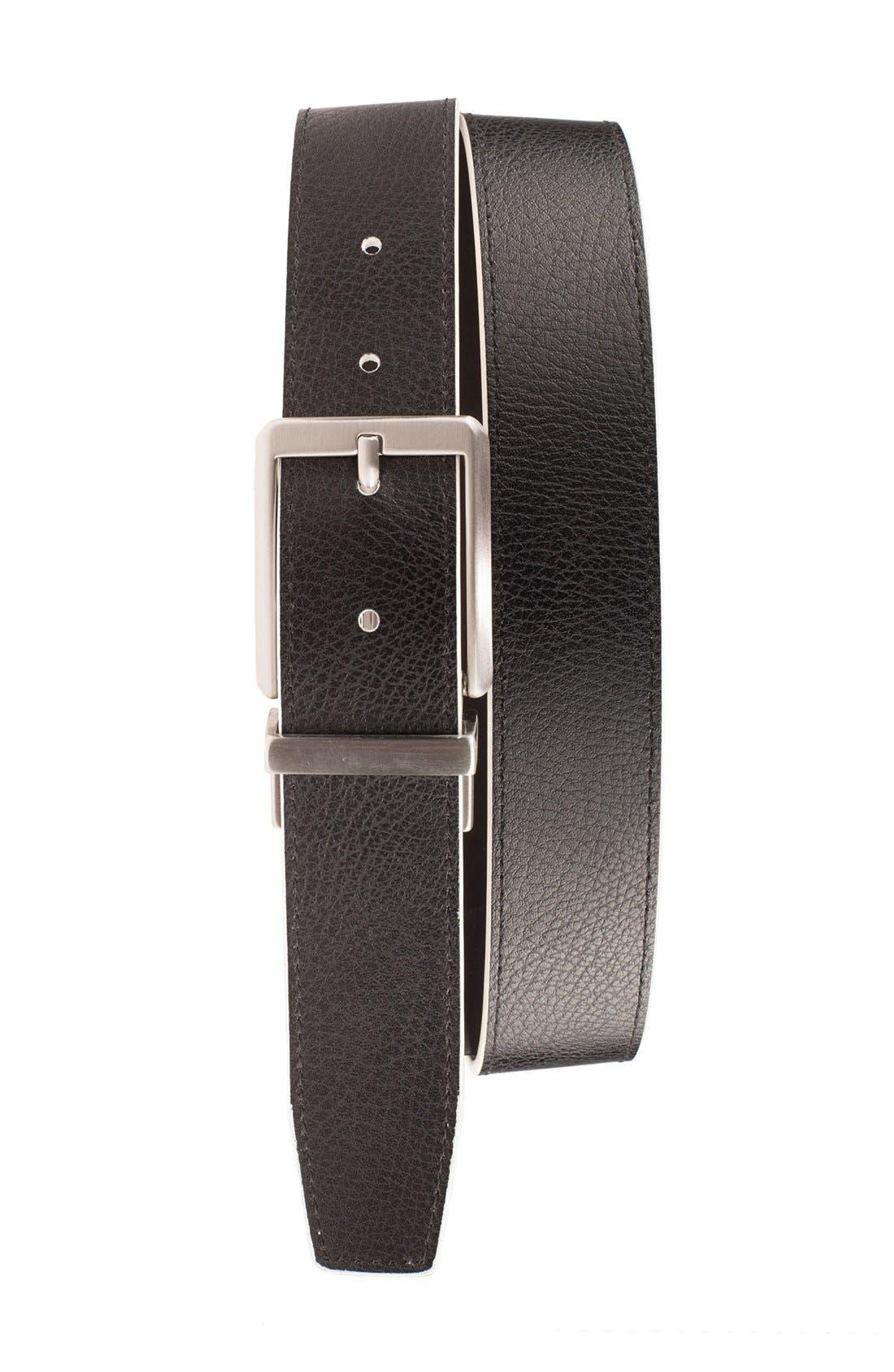 NIKE, 'Core' Reversible Leather Belt, Alternate thumbnail 2, color, WHITE/ BLACK