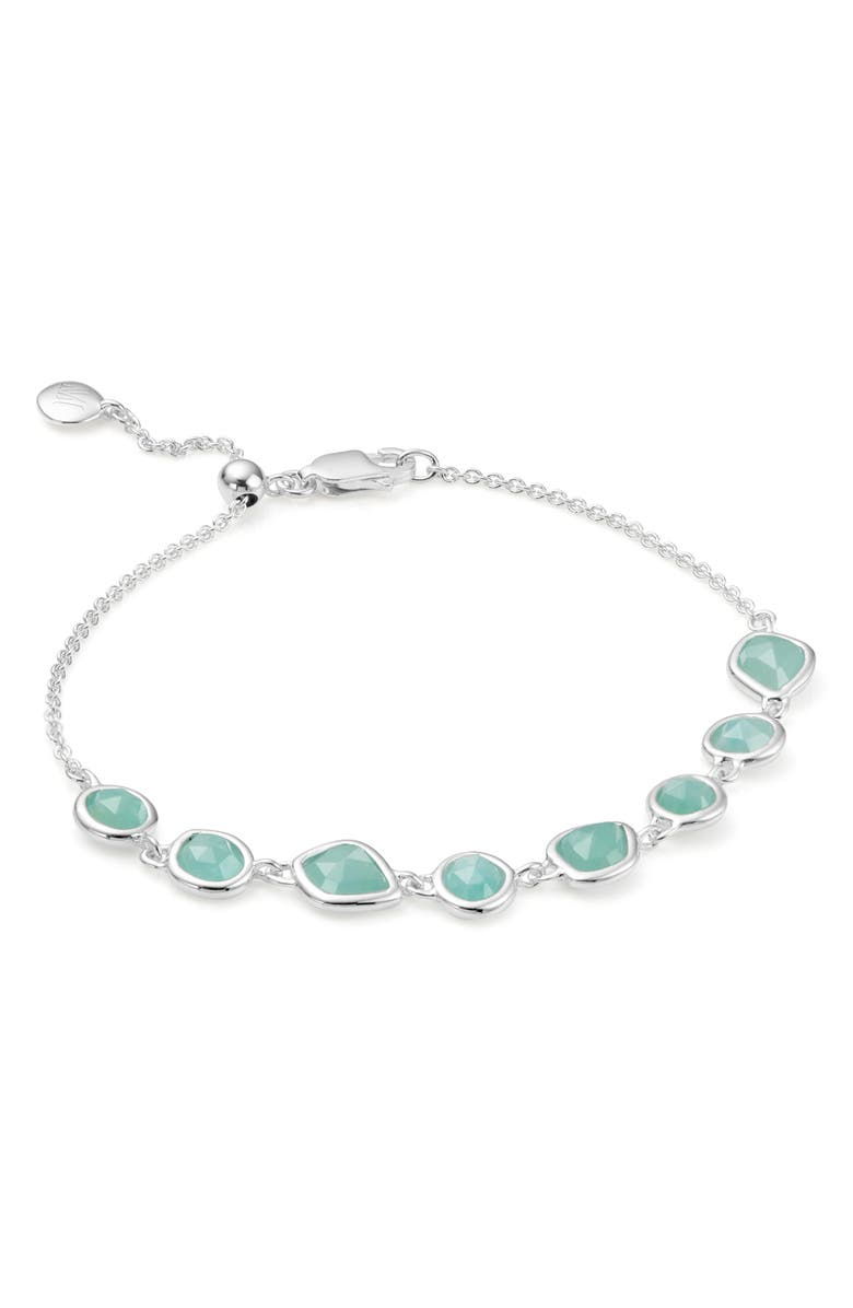 Monica Vinader Siren Mini Nugget Cluster Sterling Silver And Amazonite Bracelet In Silver/ Amazonite