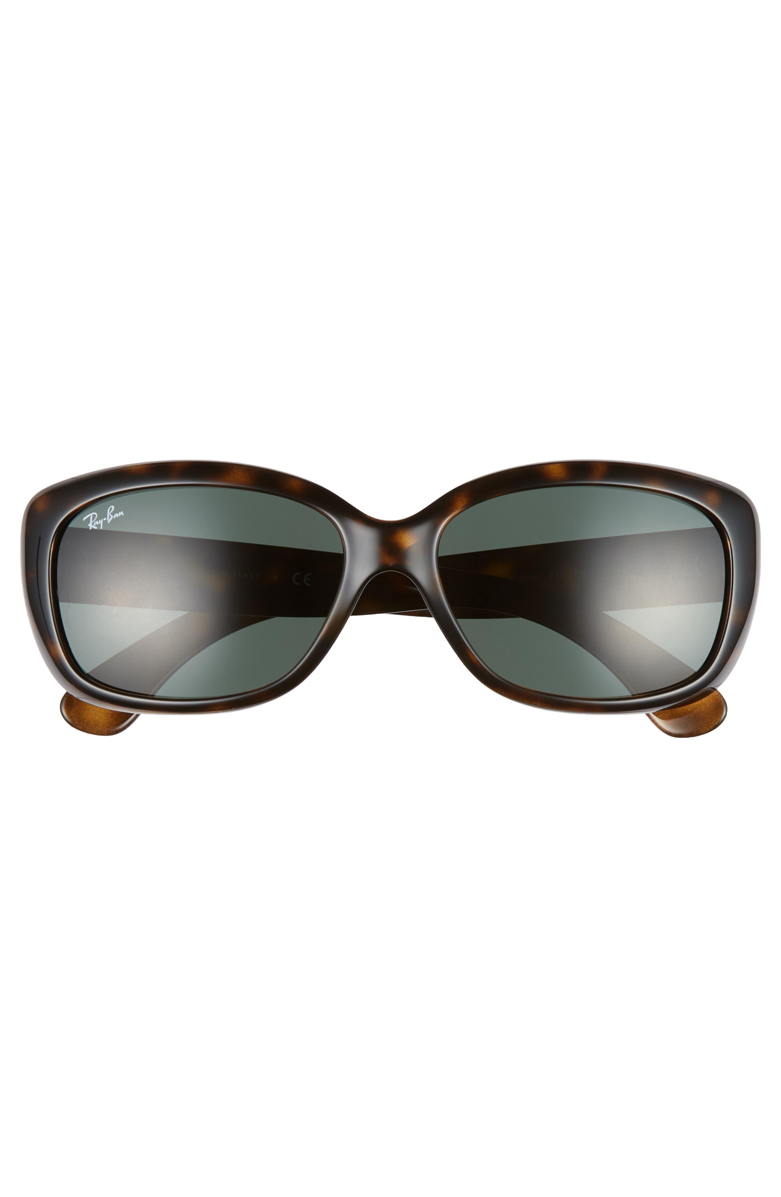 RAY-BAN, Jackie Ohh 58mm Cat Eye Sunglasses, Alternate thumbnail 3, color, LITE HAVANA/ GREEN SOLID