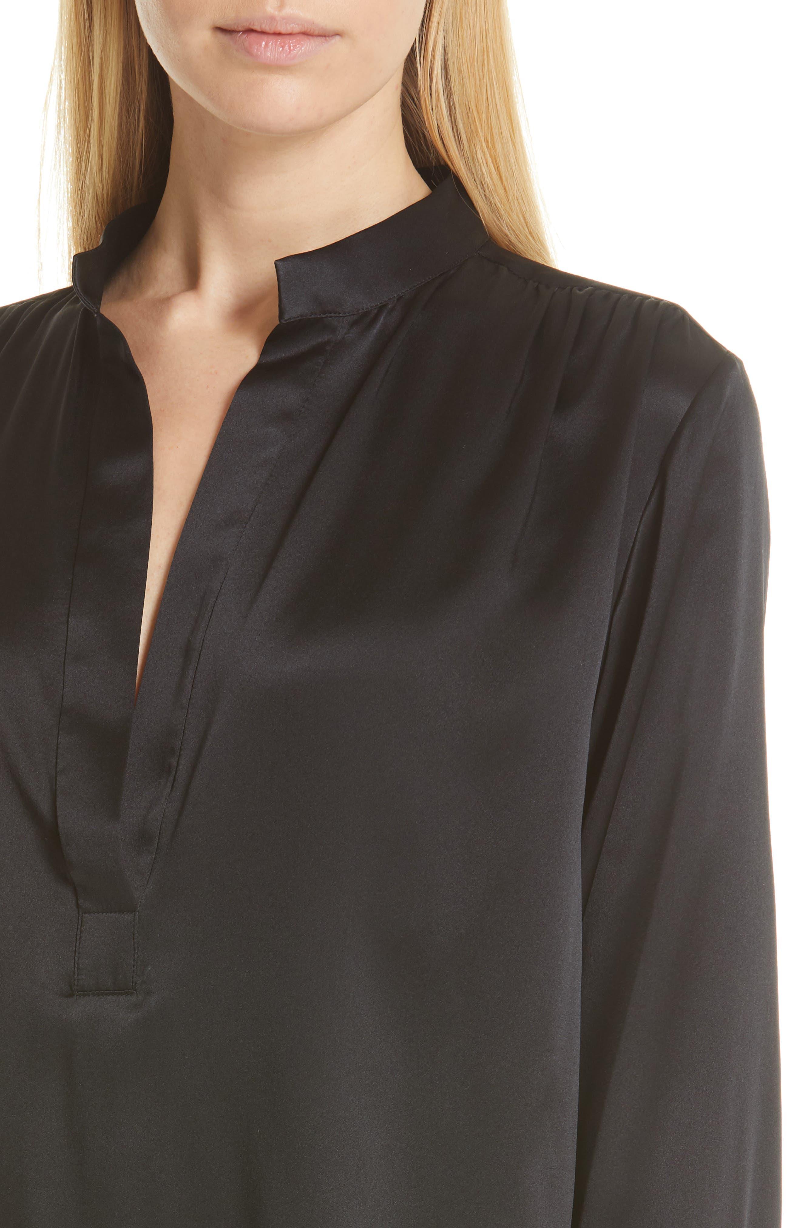 NILI LOTAN, Colette Silk Blouse, Alternate thumbnail 4, color, BLACK