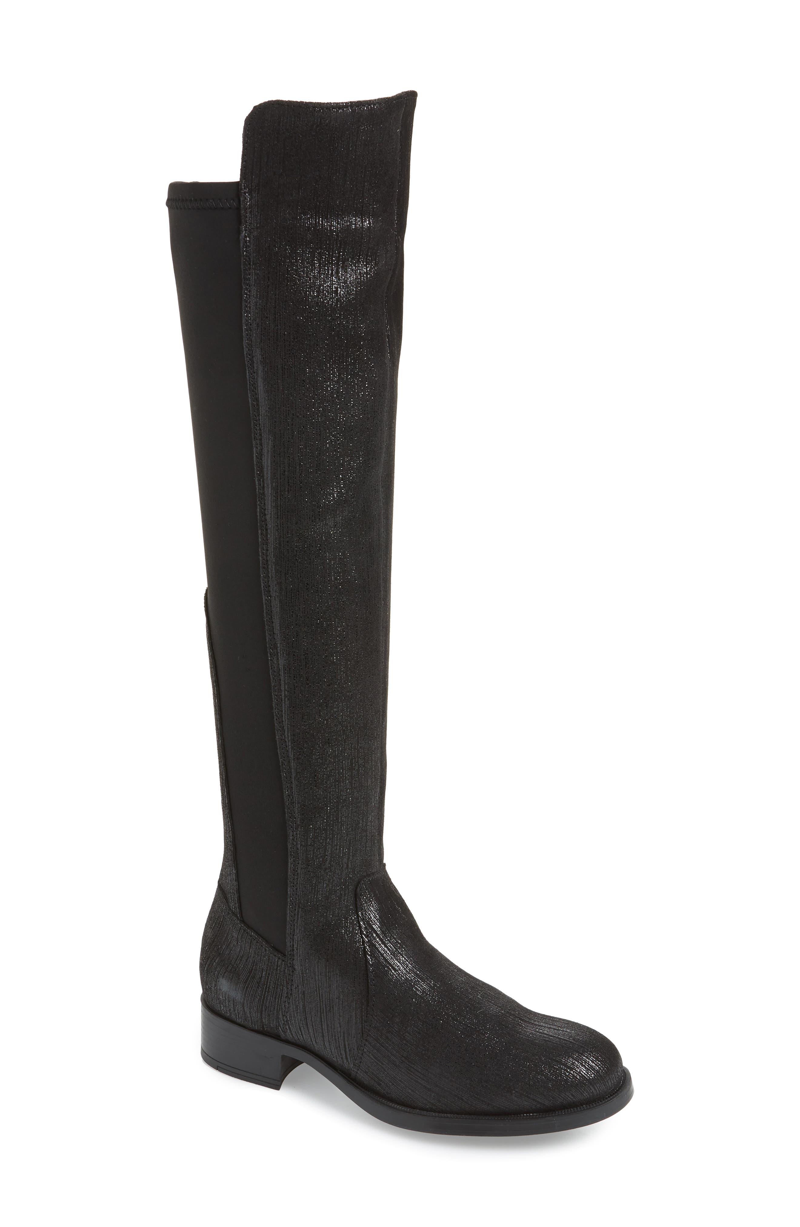 BOS. & CO., Bunt Waterproof Over the Knee Boot, Main thumbnail 1, color, BLACK METAL/ LYCRA