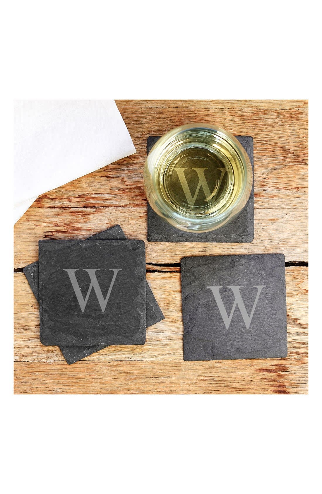 CATHY'S CONCEPTS Monogram Slate Coasters, Main, color, W
