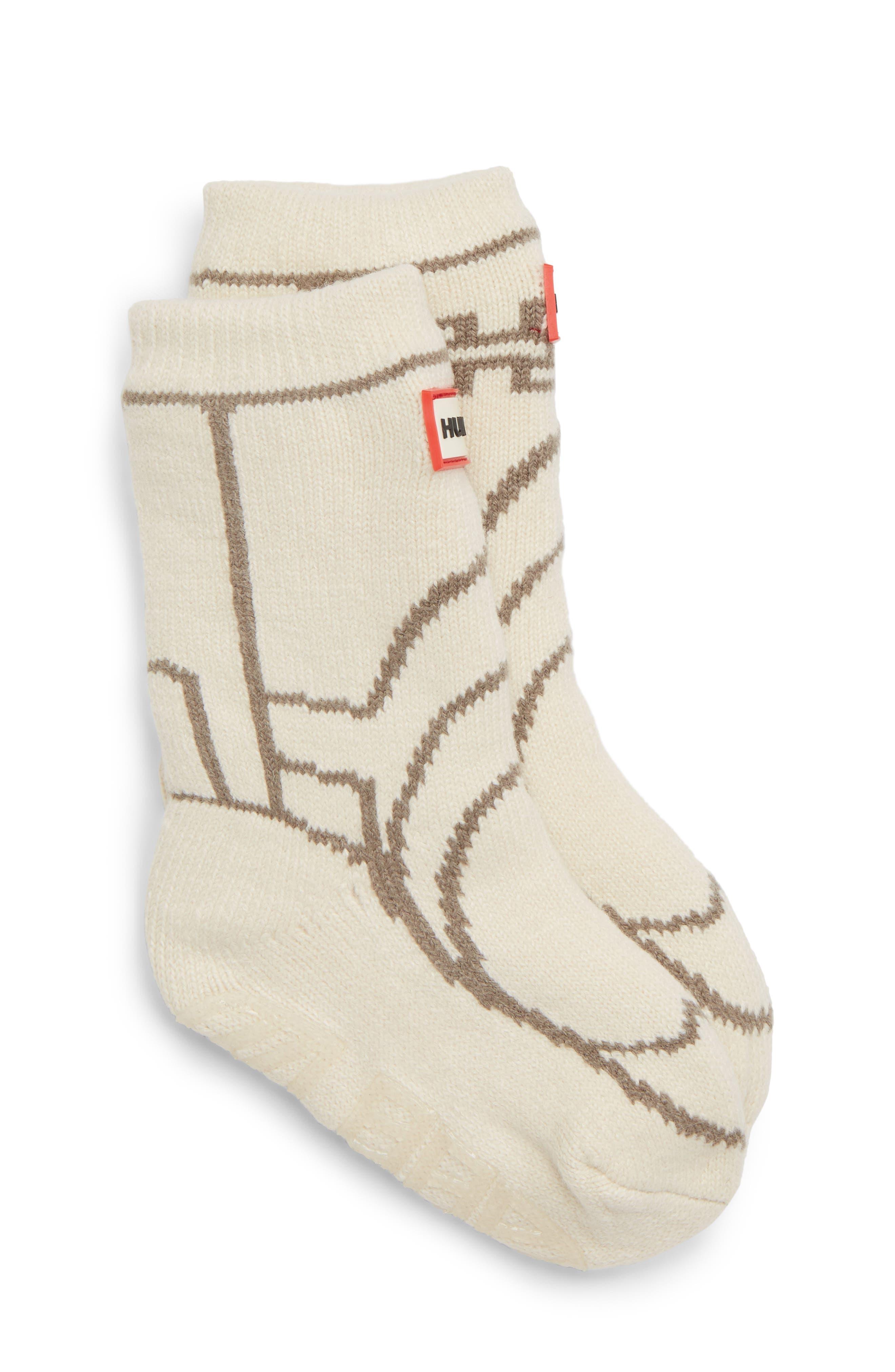Toddler Hunter Original Boot Slipper Socks Size Large  White