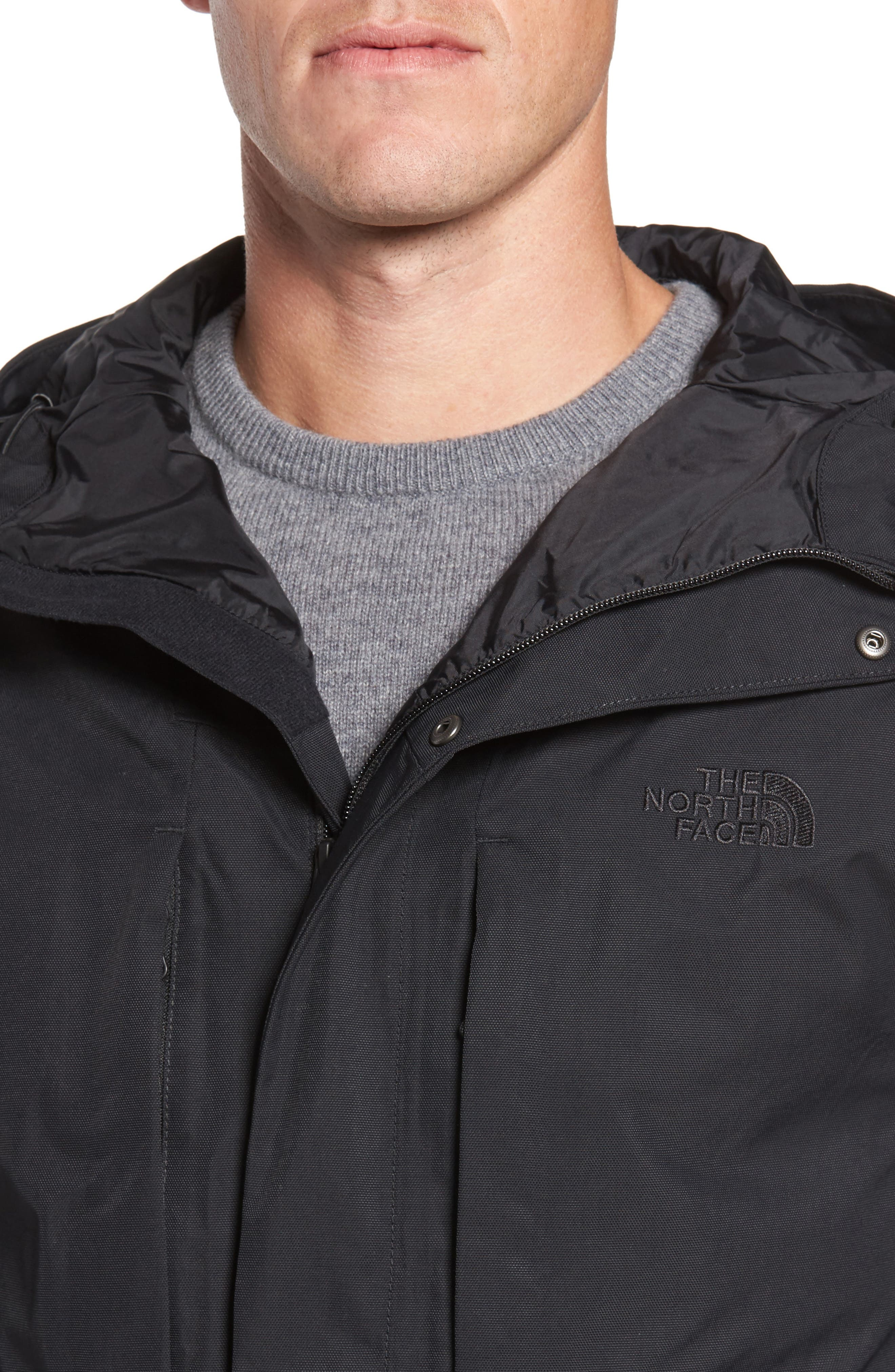THE NORTH FACE, El Misti Trench II Hooded Jacket, Alternate thumbnail 5, color, 001