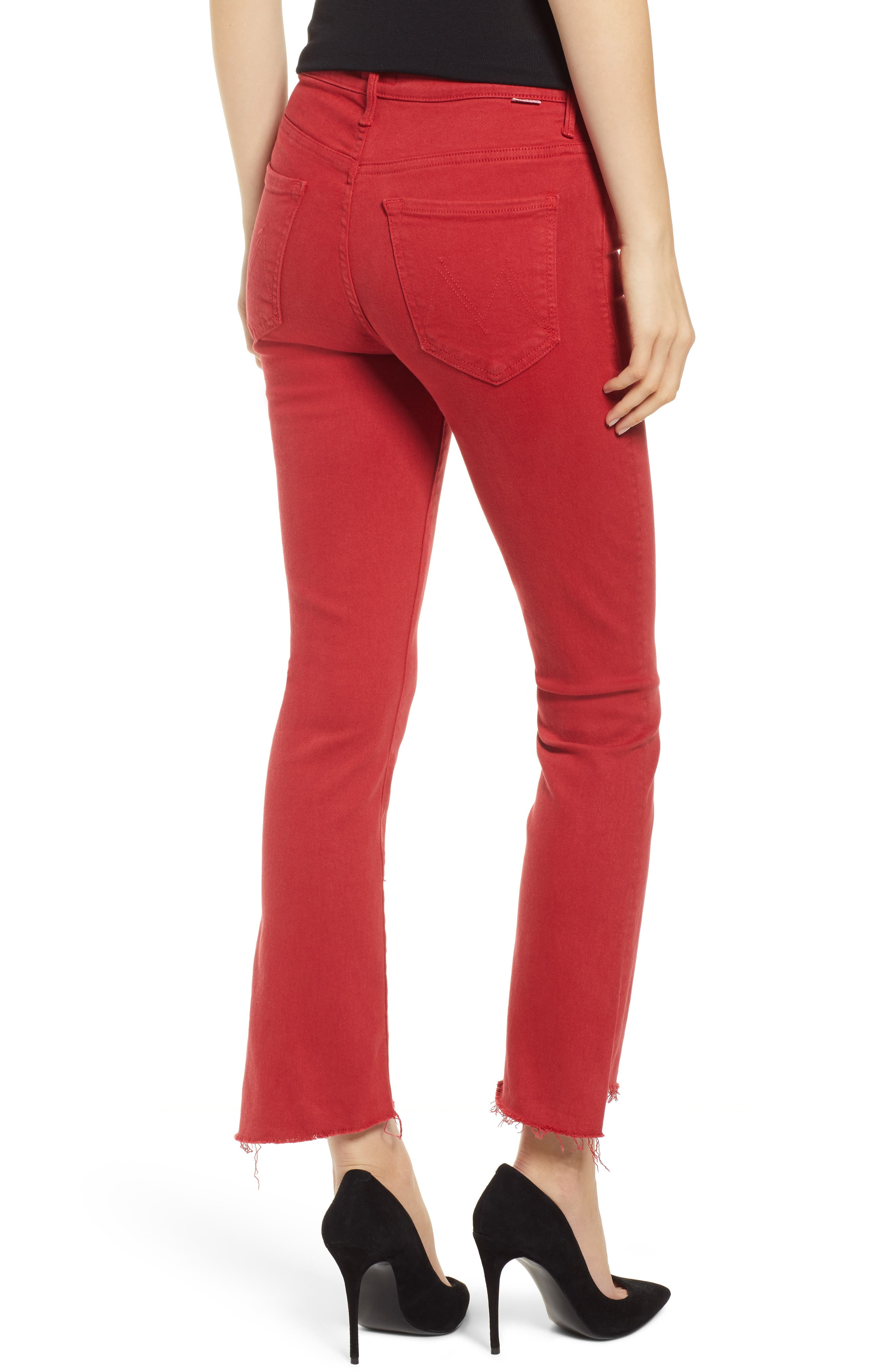 MOTHER, The Insider Step Hem Crop Jeans, Alternate thumbnail 2, color, HOT ROD RED
