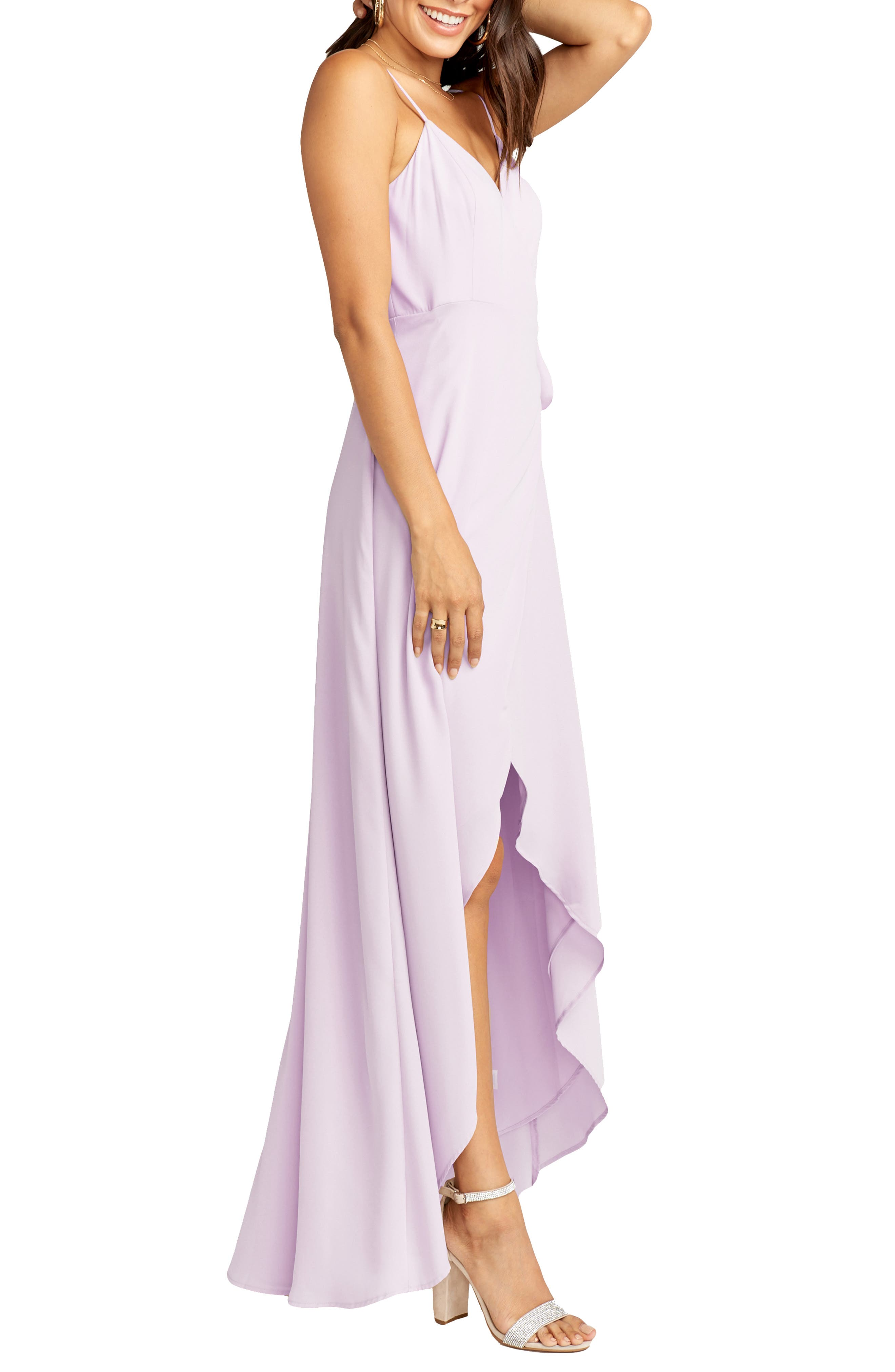 SHOW ME YOUR MUMU, Mariah Wrap Maxi Dress, Alternate thumbnail 4, color, VIOLET CHIFFON