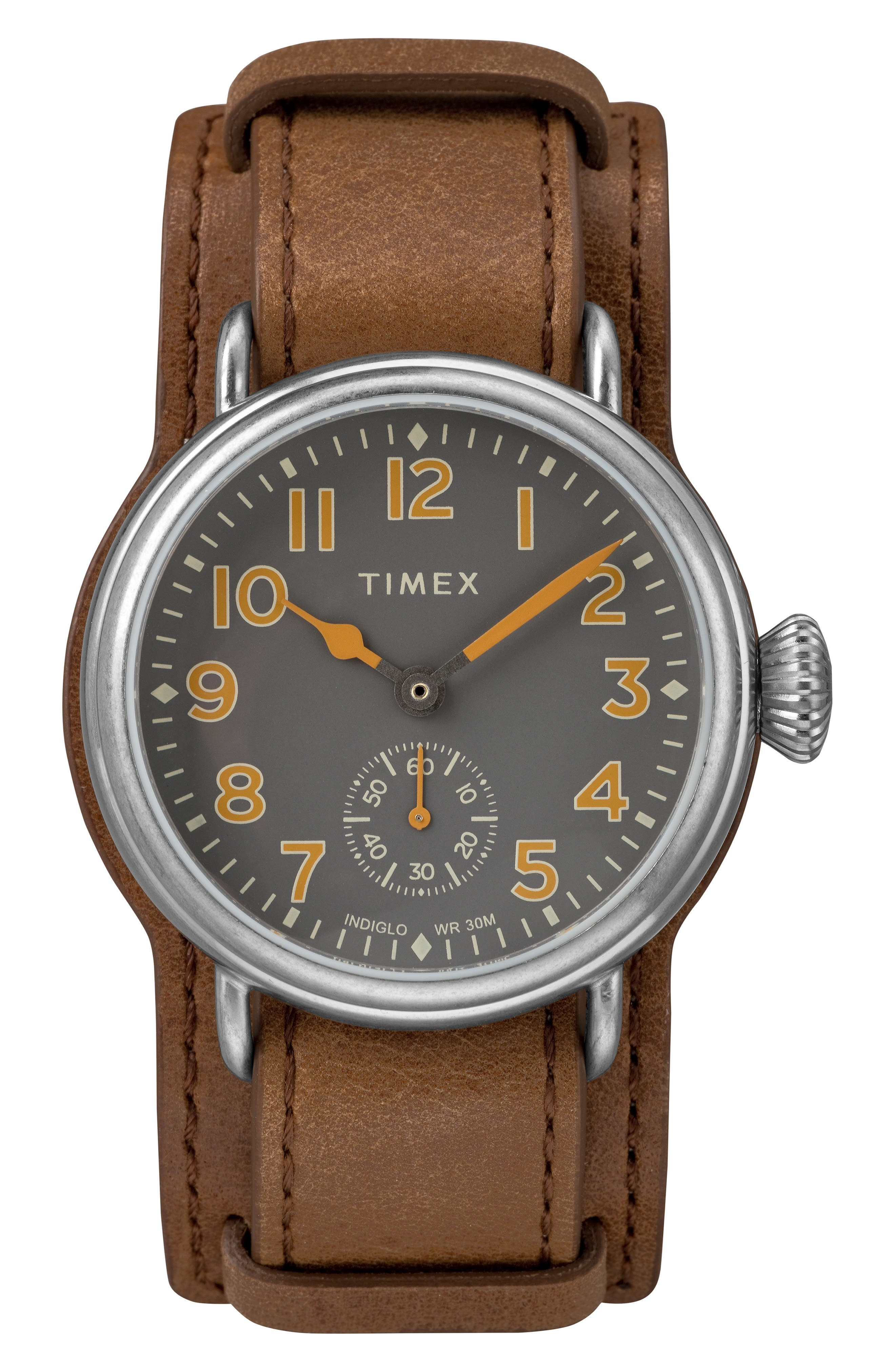 TIMEX<SUP>®</SUP>, Waterbury Welton Leather Cuff Watch, 38mm, Main thumbnail 1, color, BROWN/ BLACK/ SILVER