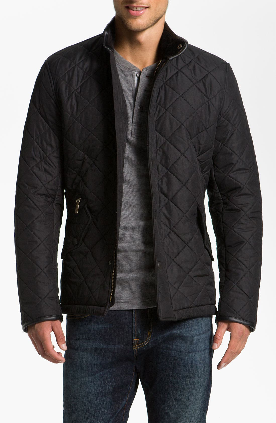 BARBOUR, 'Powell' Regular Fit Quilted Jacket, Main thumbnail 1, color, BLACK
