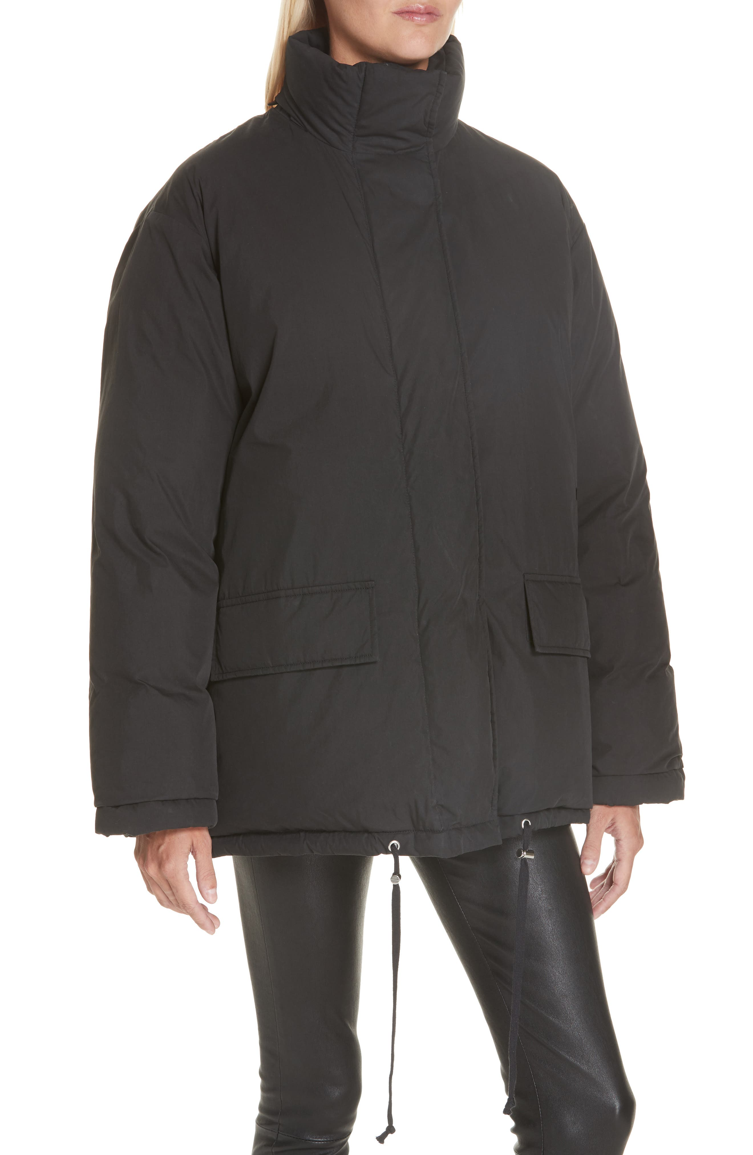 HELMUT LANG, Removable Hood Puffer Jacket, Alternate thumbnail 2, color, 001