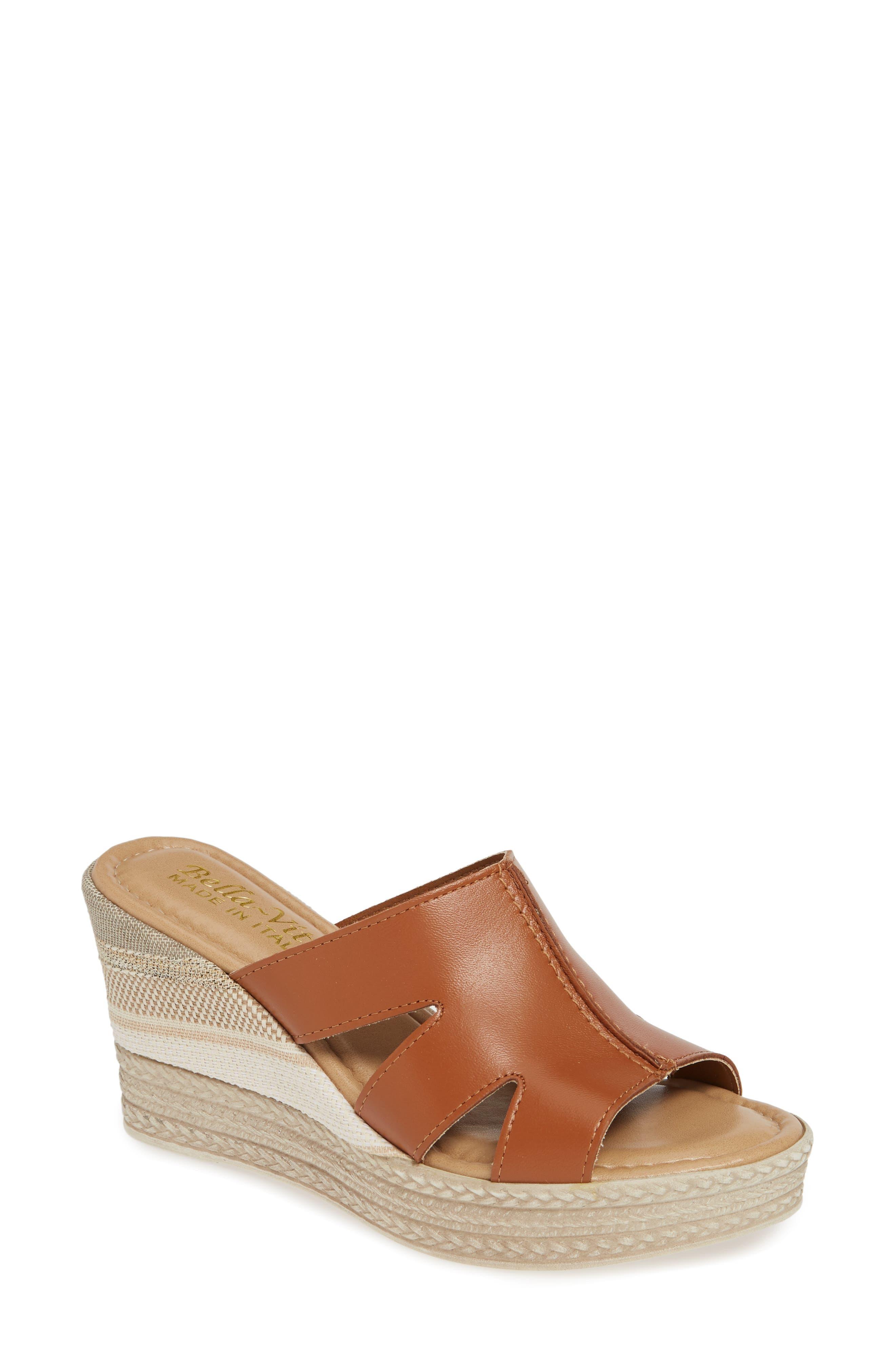 Bella Vita Rox Wedge Slide Sandal, Brown