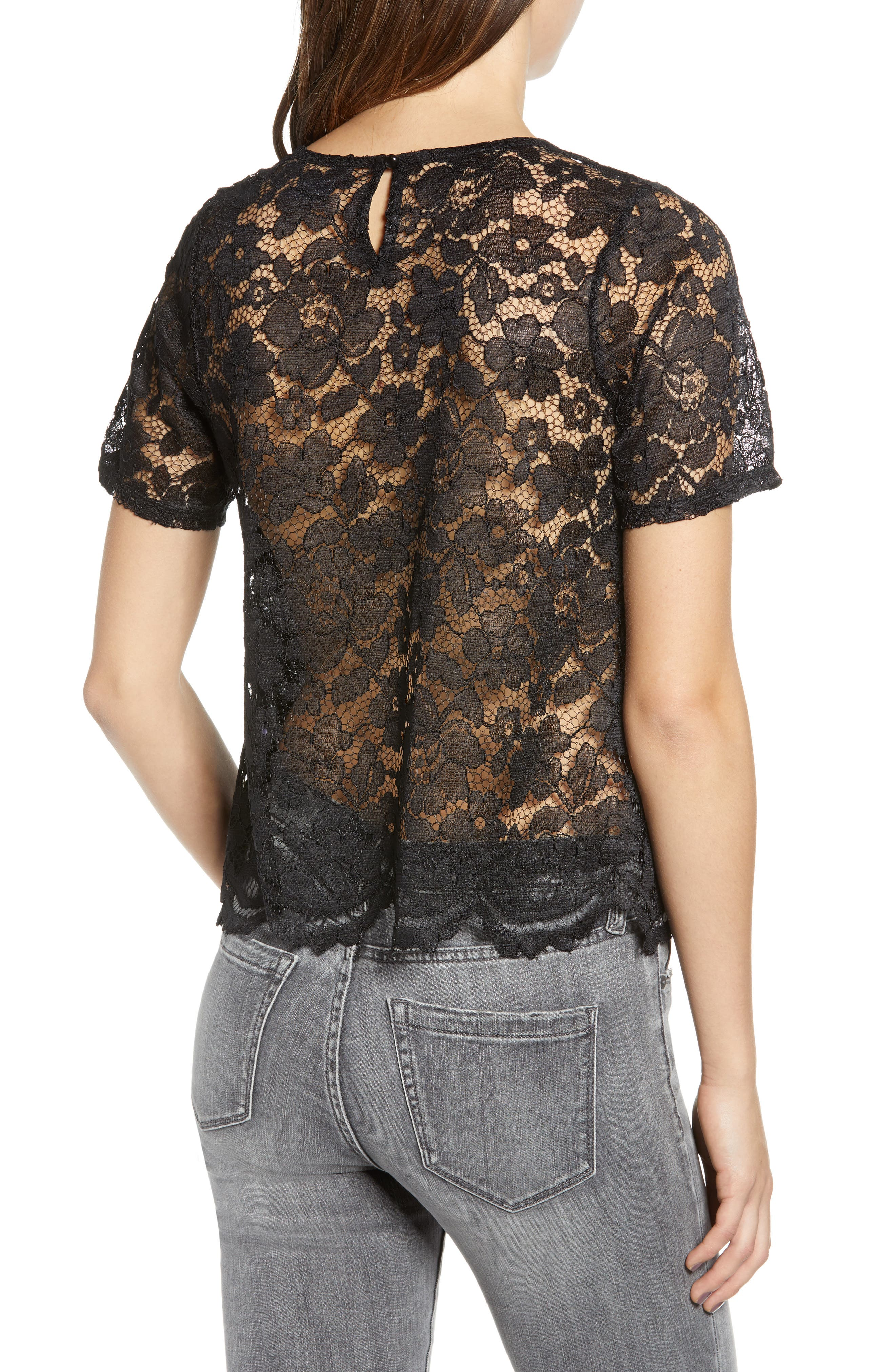 LEITH, Scalloped Lace Tee, Alternate thumbnail 2, color, BLACK