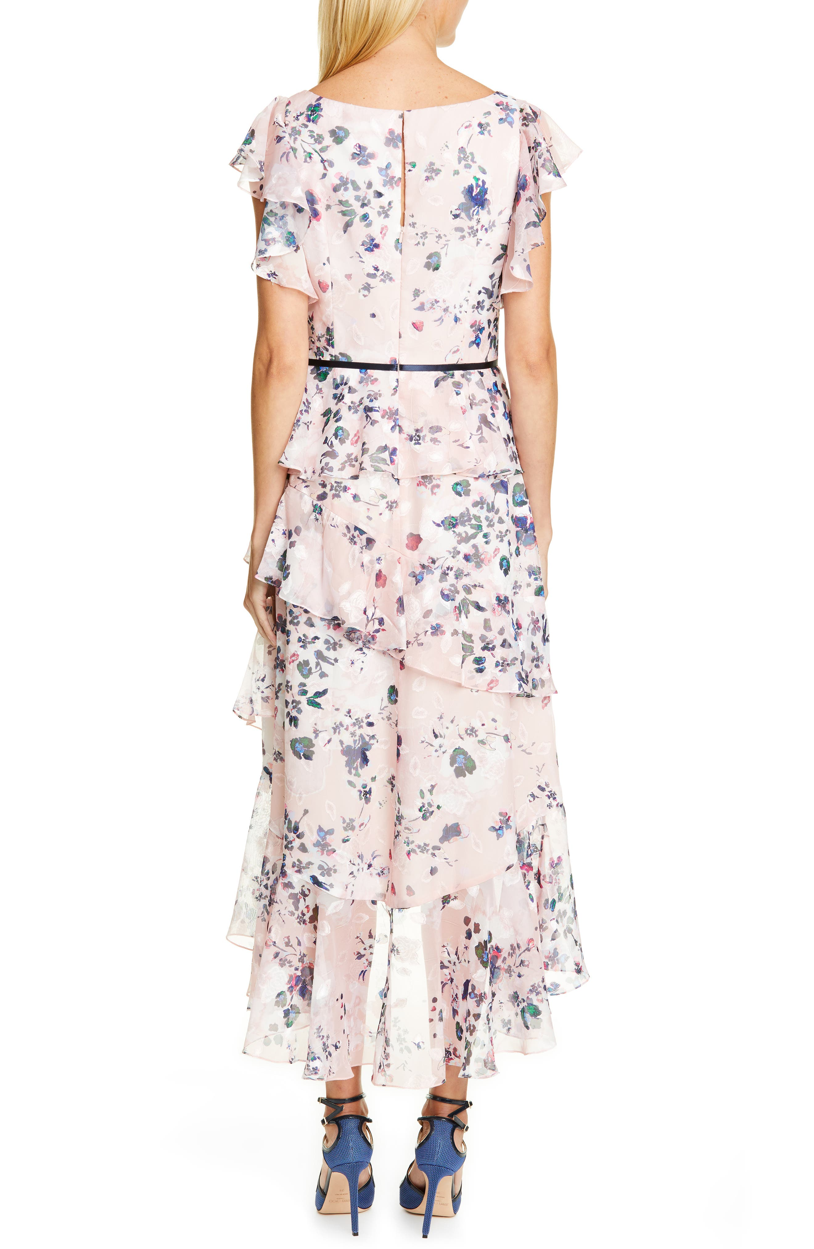 MARCHESA NOTTE, Floral Ruffle Tiered Midi Dress, Alternate thumbnail 2, color, 680