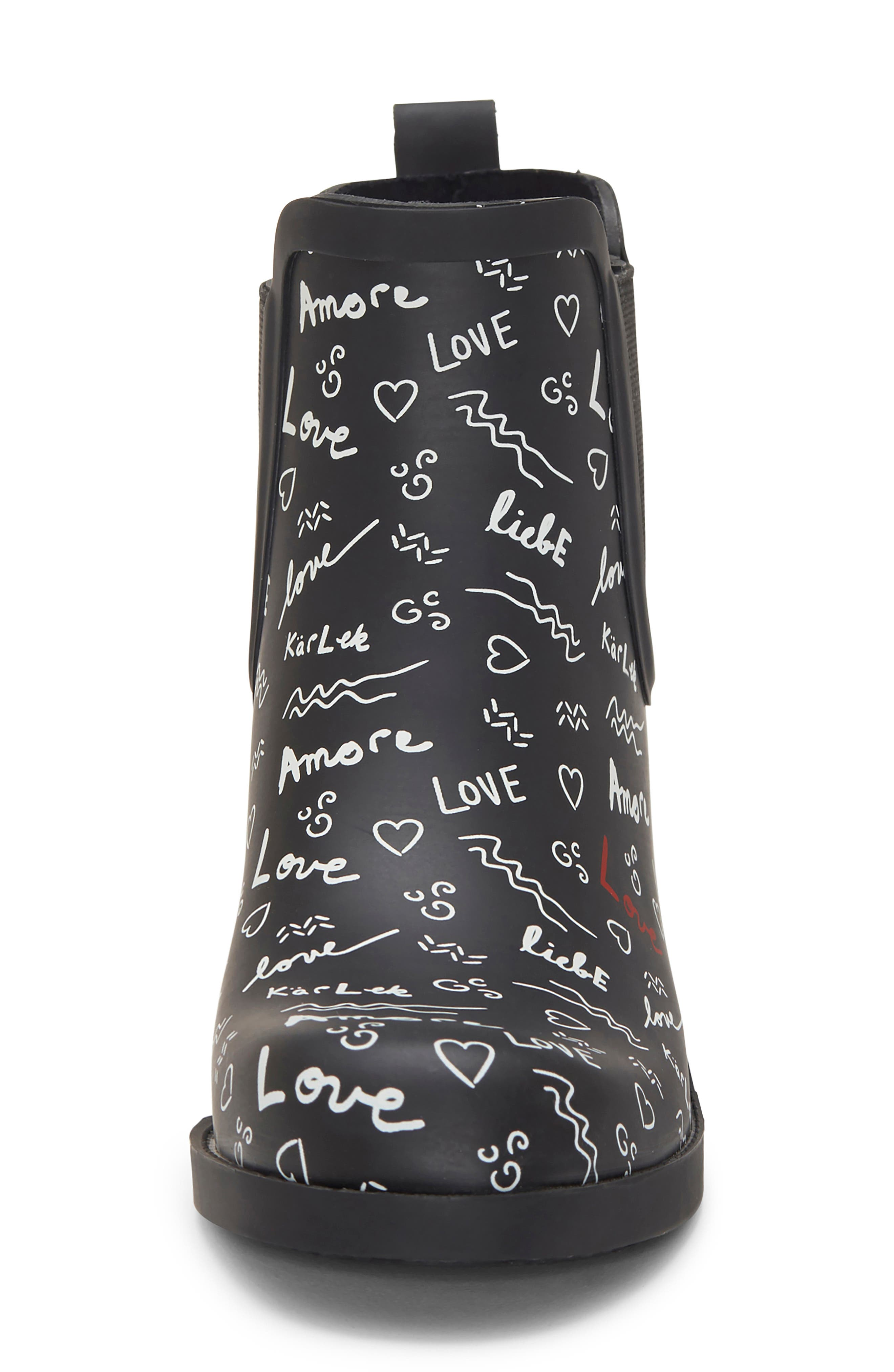 ED ELLEN DEGENERES, Wallita Rain Boot, Alternate thumbnail 3, color, BLACK/ WHITE MATTE RUBBER