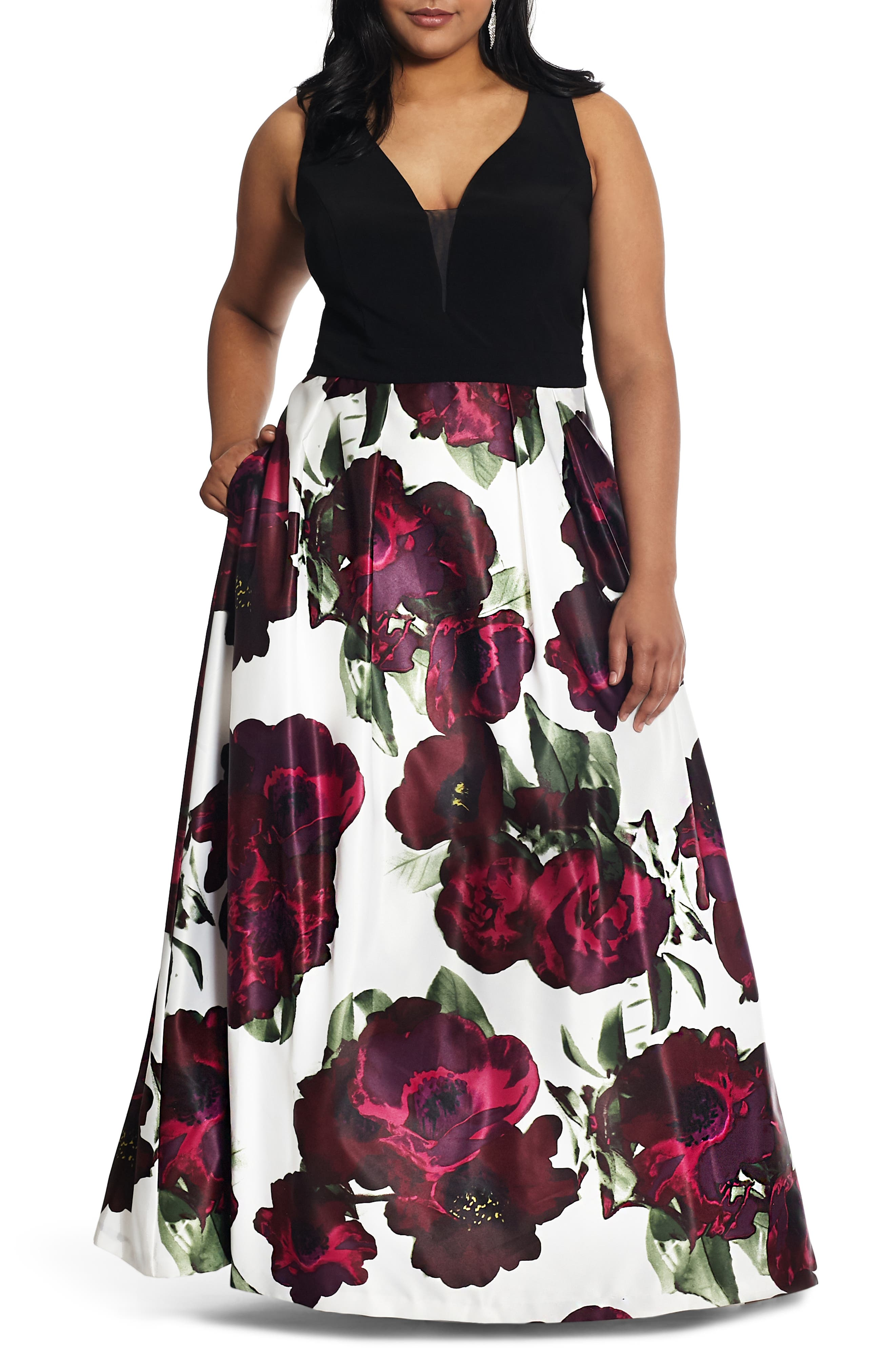 Plus Size Xscape Floral Evening Gown, Pink