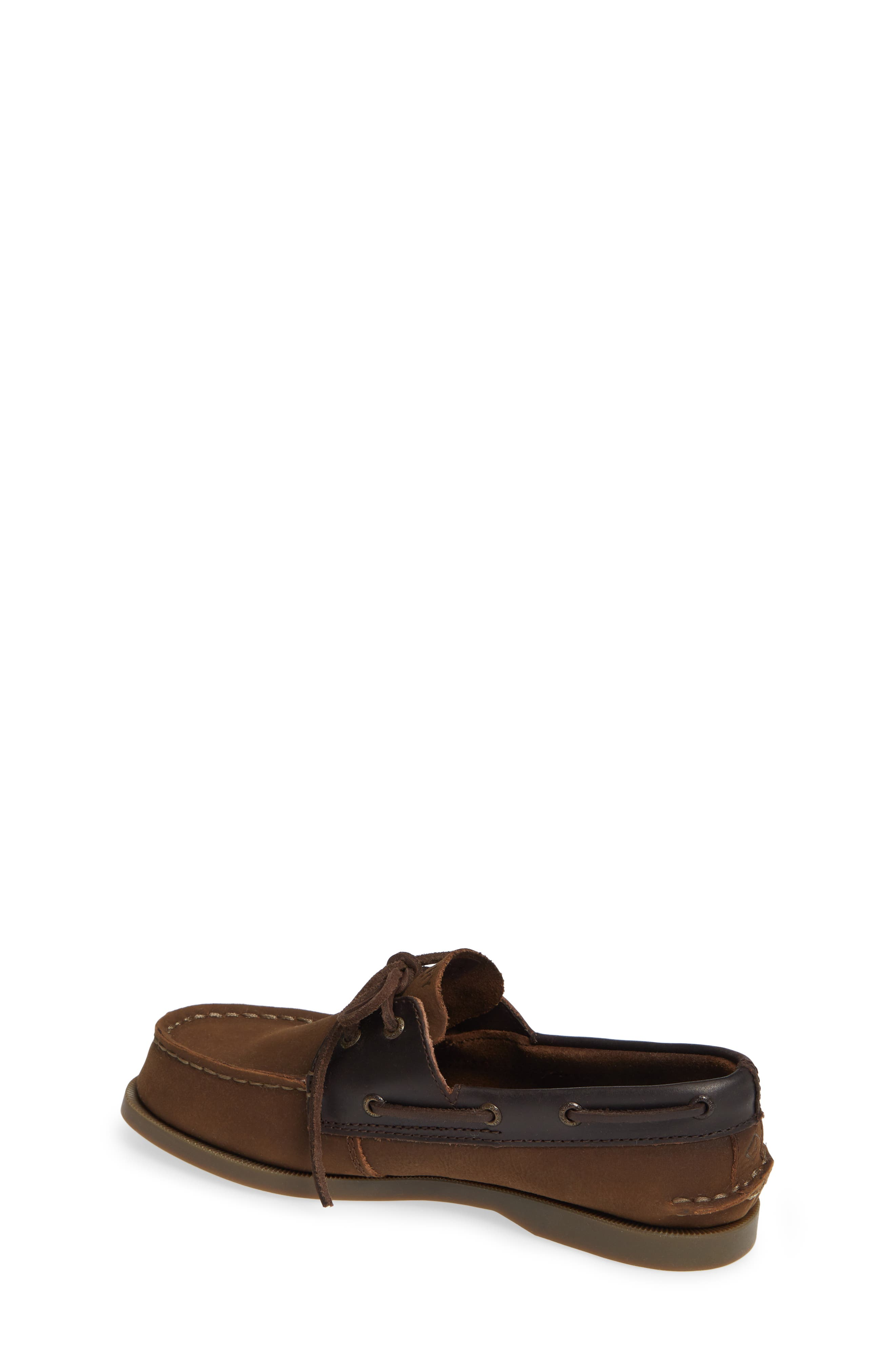 SPERRY KIDS, 'Authentic Original' Boat Shoe, Alternate thumbnail 2, color, BROWN BUCK LEATHER