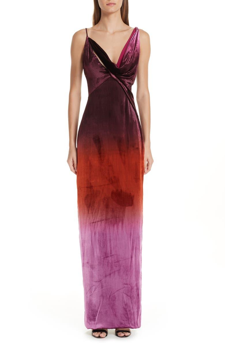 Cushnie OMBRE VELVET COLUMN DRESS