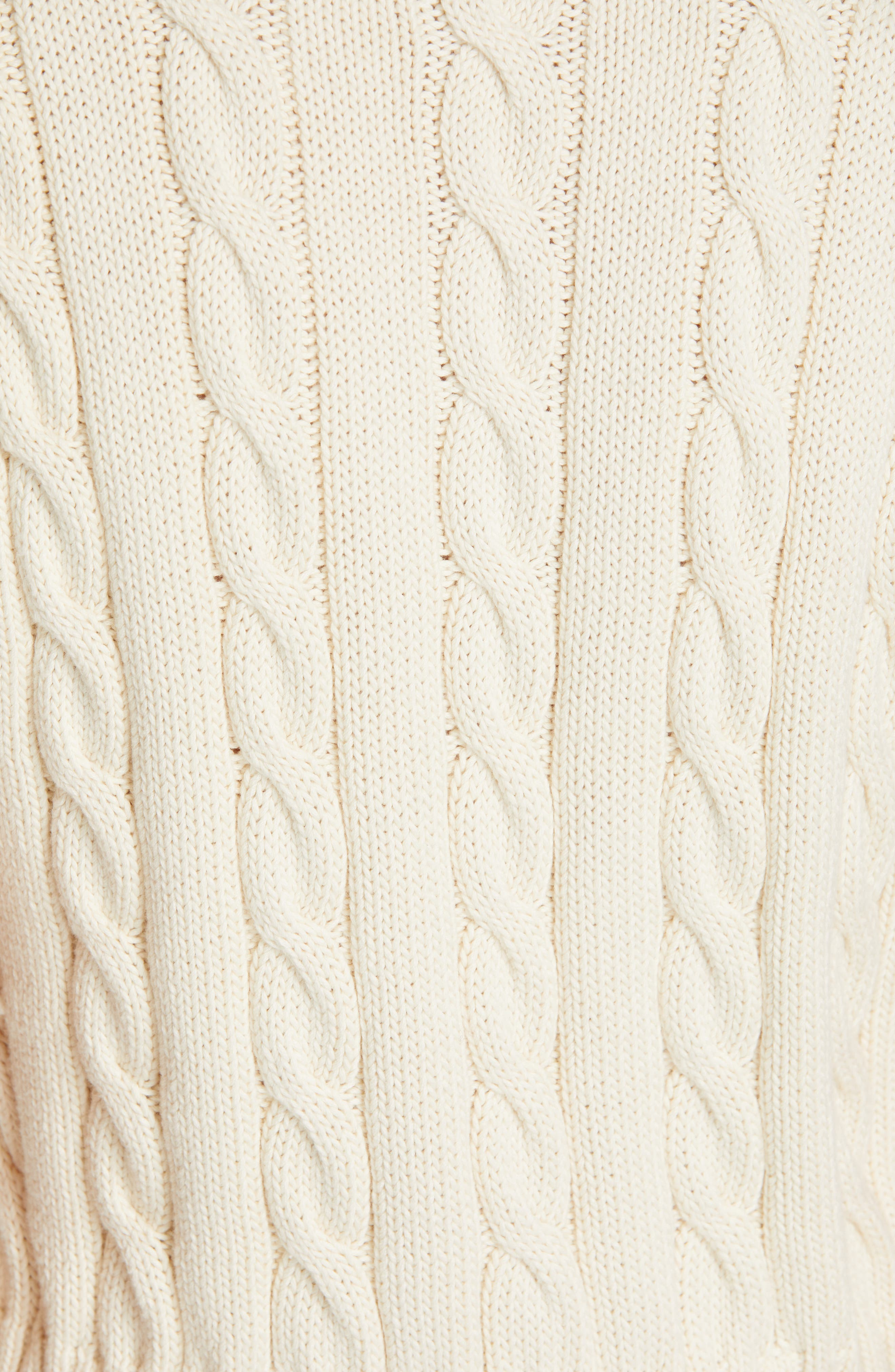 POLO RALPH LAUREN, Cable Sweater Vest, Alternate thumbnail 5, color, CREAM/ BLACK/ ROYAL