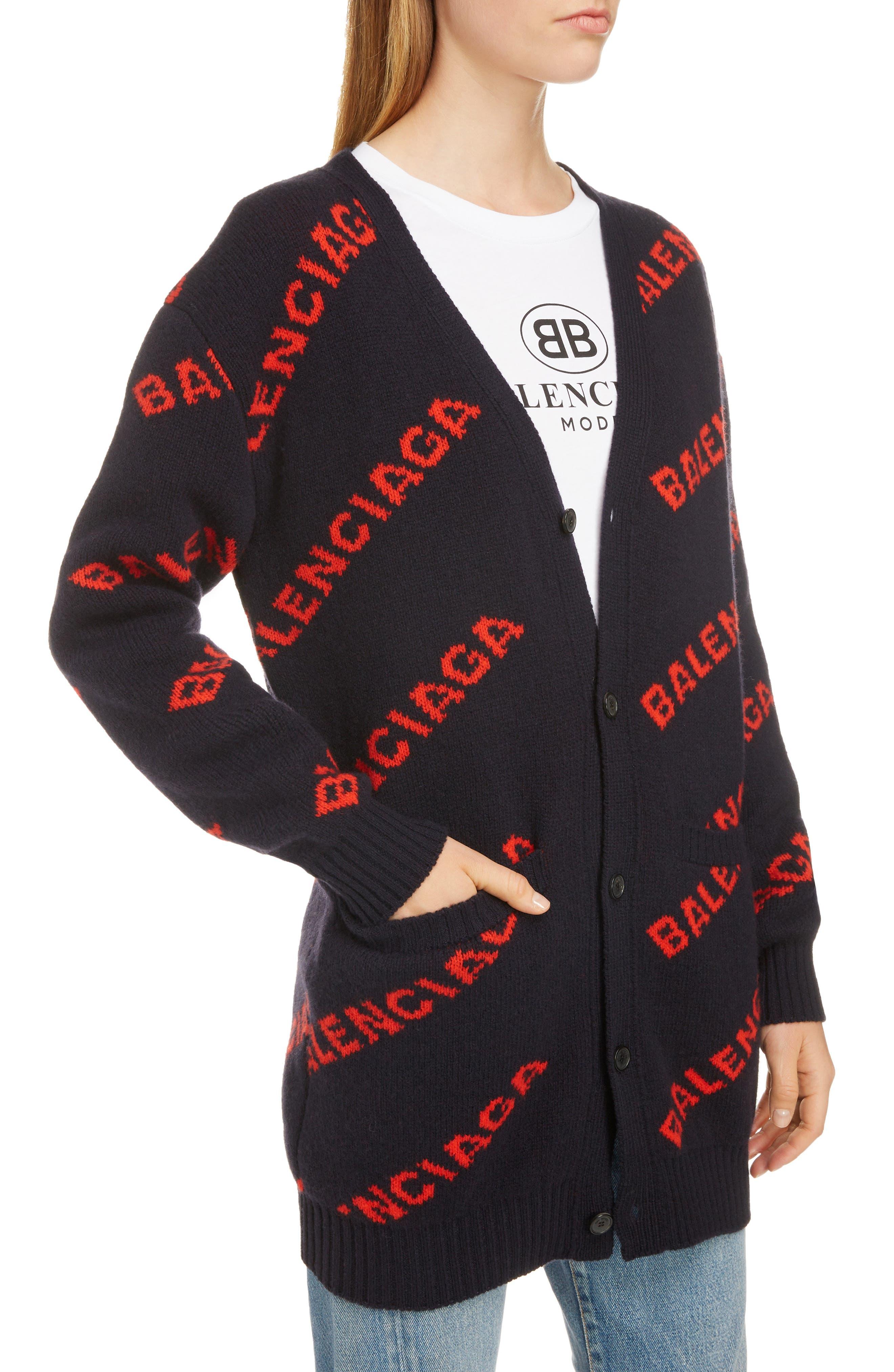 BALENCIAGA, Logo Jacquard Wool Blend Cardigan, Alternate thumbnail 4, color, NAVY/ ORANGE