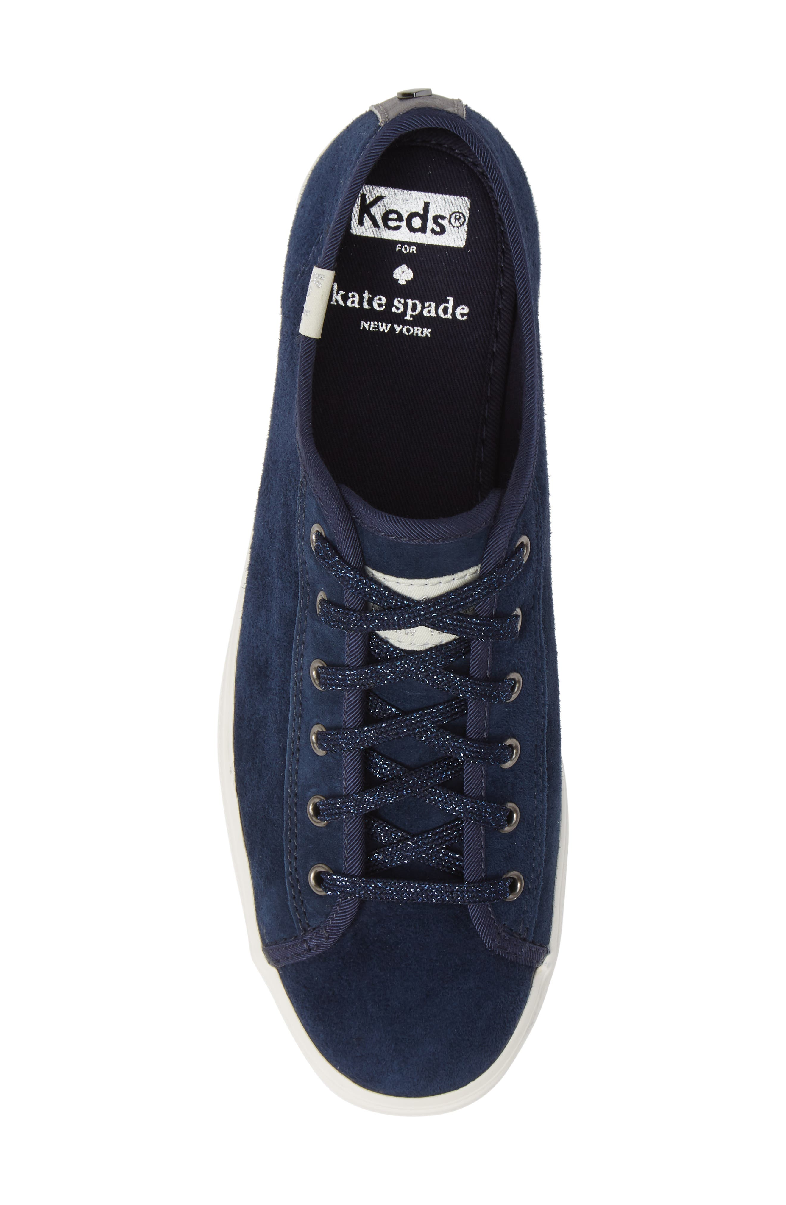 KEDS<SUP>®</SUP> FOR KATE SPADE NEW YORK, Keds<sup>®</sup> x kate spade new york triple kicks platform sneaker, Alternate thumbnail 5, color, NAVY SUEDE