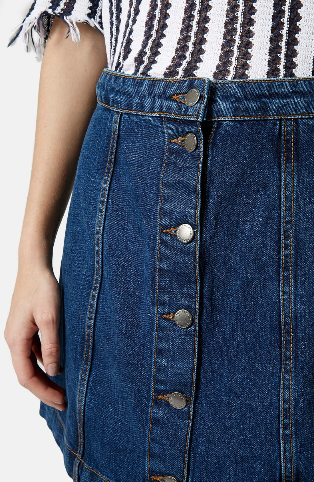 TOPSHOP, Moto Button Front Denim Miniskirt, Alternate thumbnail 2, color, 400