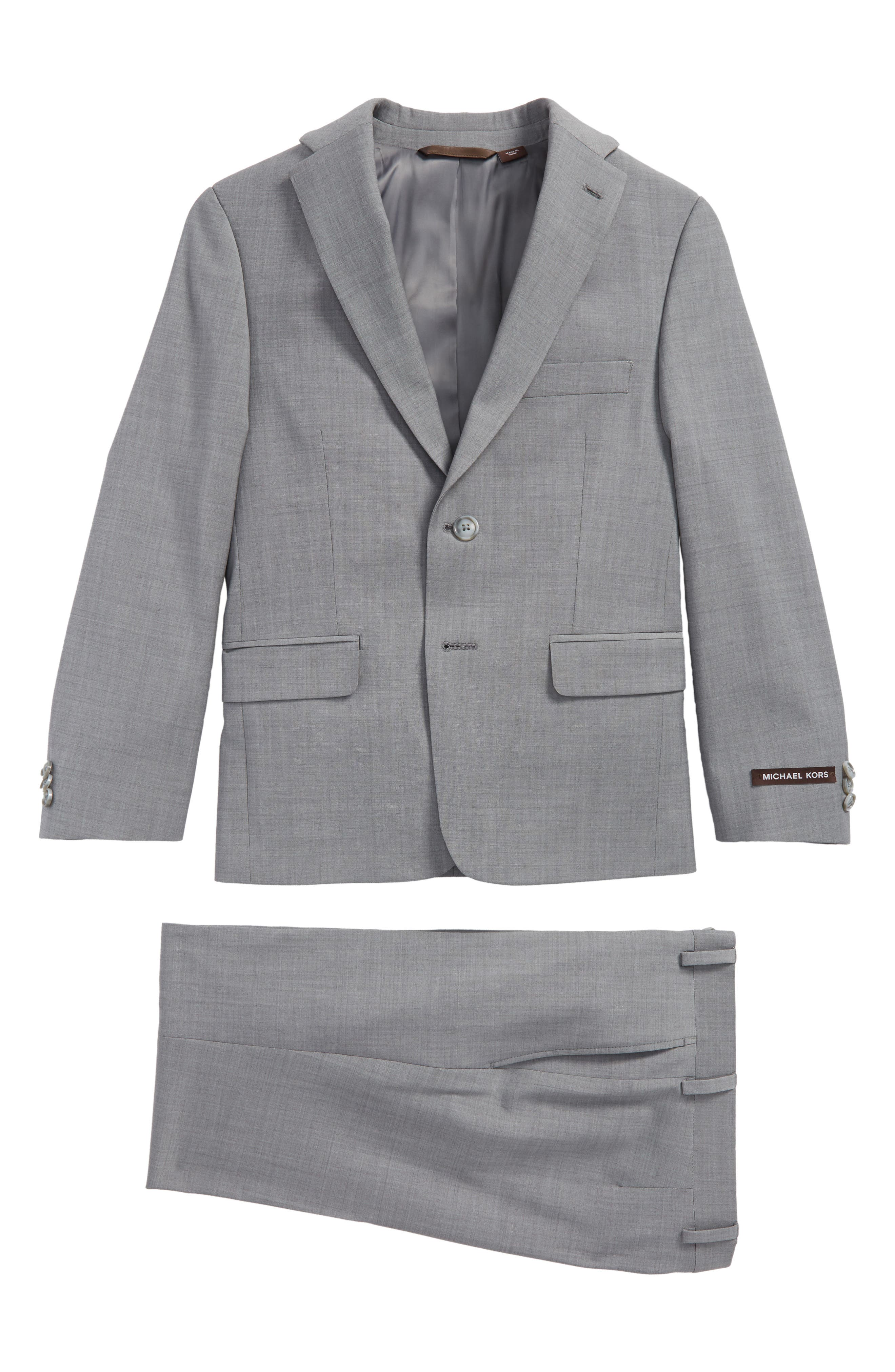 MICHAEL KORS, Stretch Wool Suit, Main thumbnail 1, color, LIGHT GREY