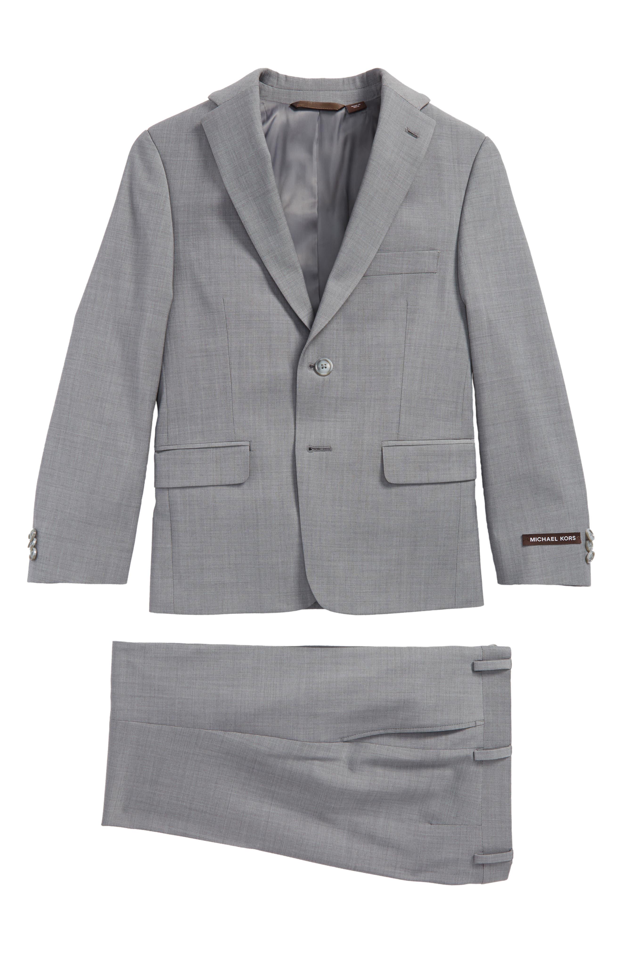 MICHAEL KORS Stretch Wool Suit, Main, color, LIGHT GREY