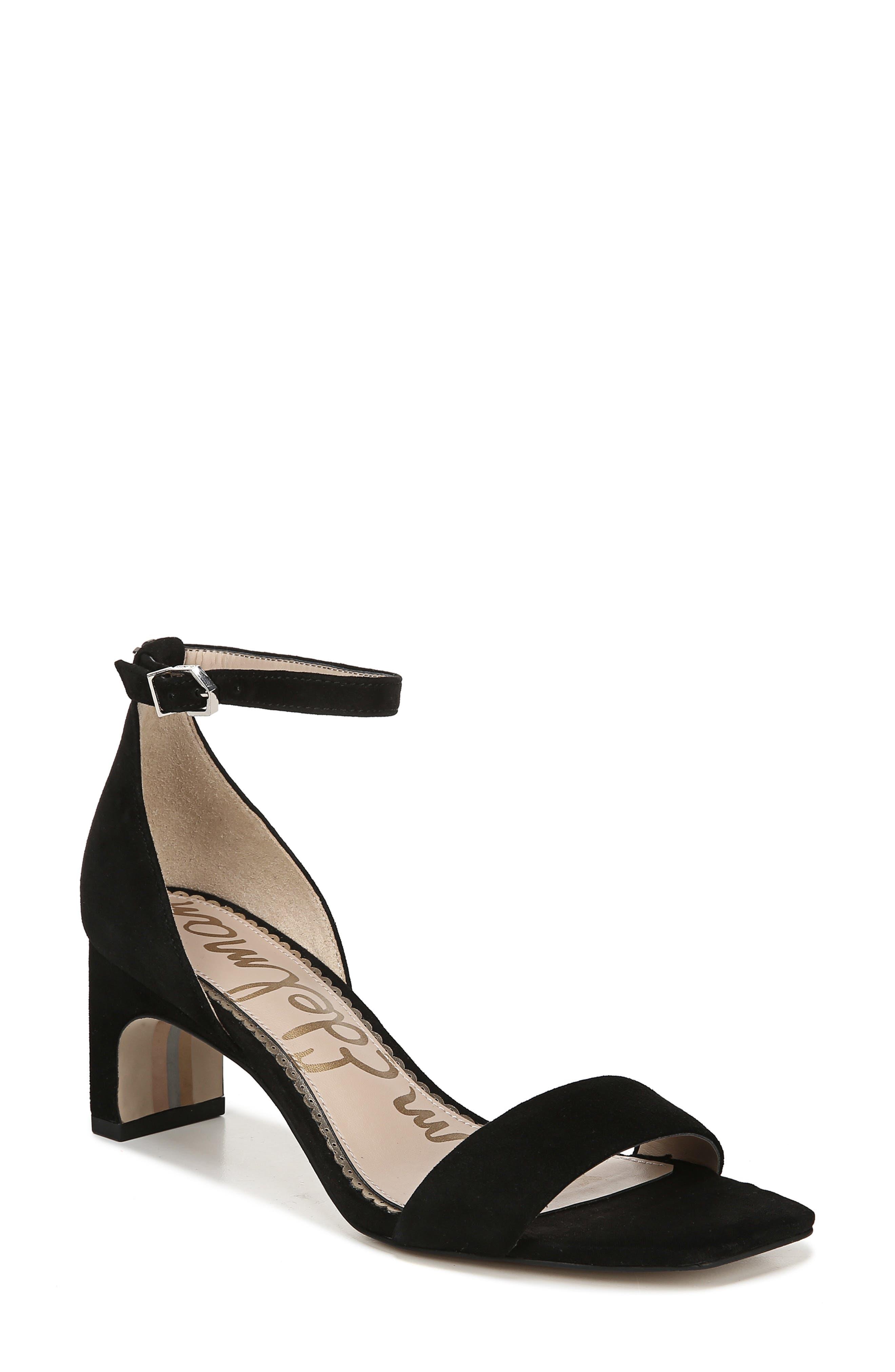 SAM EDELMAN, Holmes Ankle Strap Sandal, Main thumbnail 1, color, BLACK SUEDE LEATHER