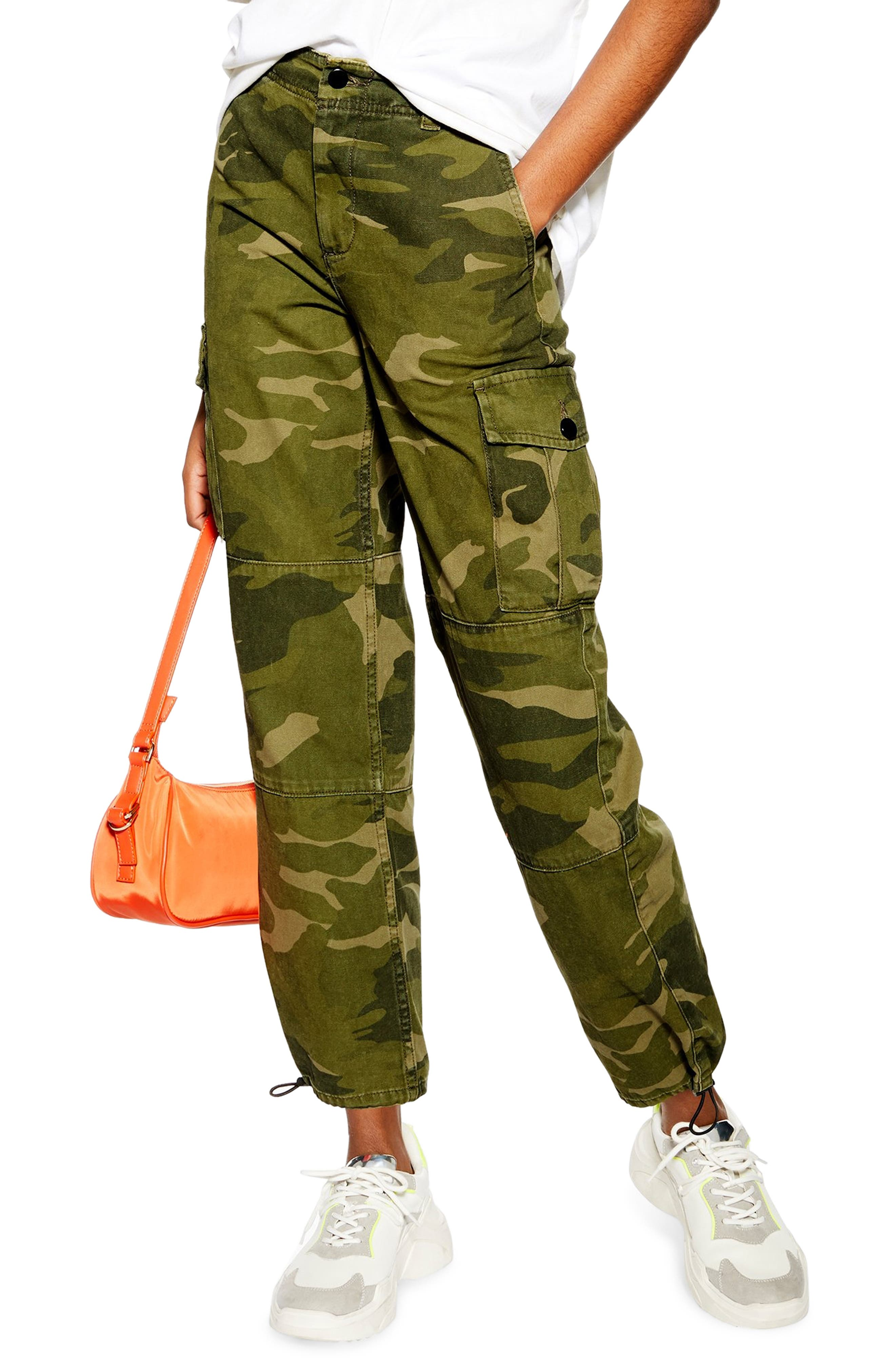 Petite Topshop Camo Print Cargo Pants, P US (fits like 0P) - Green