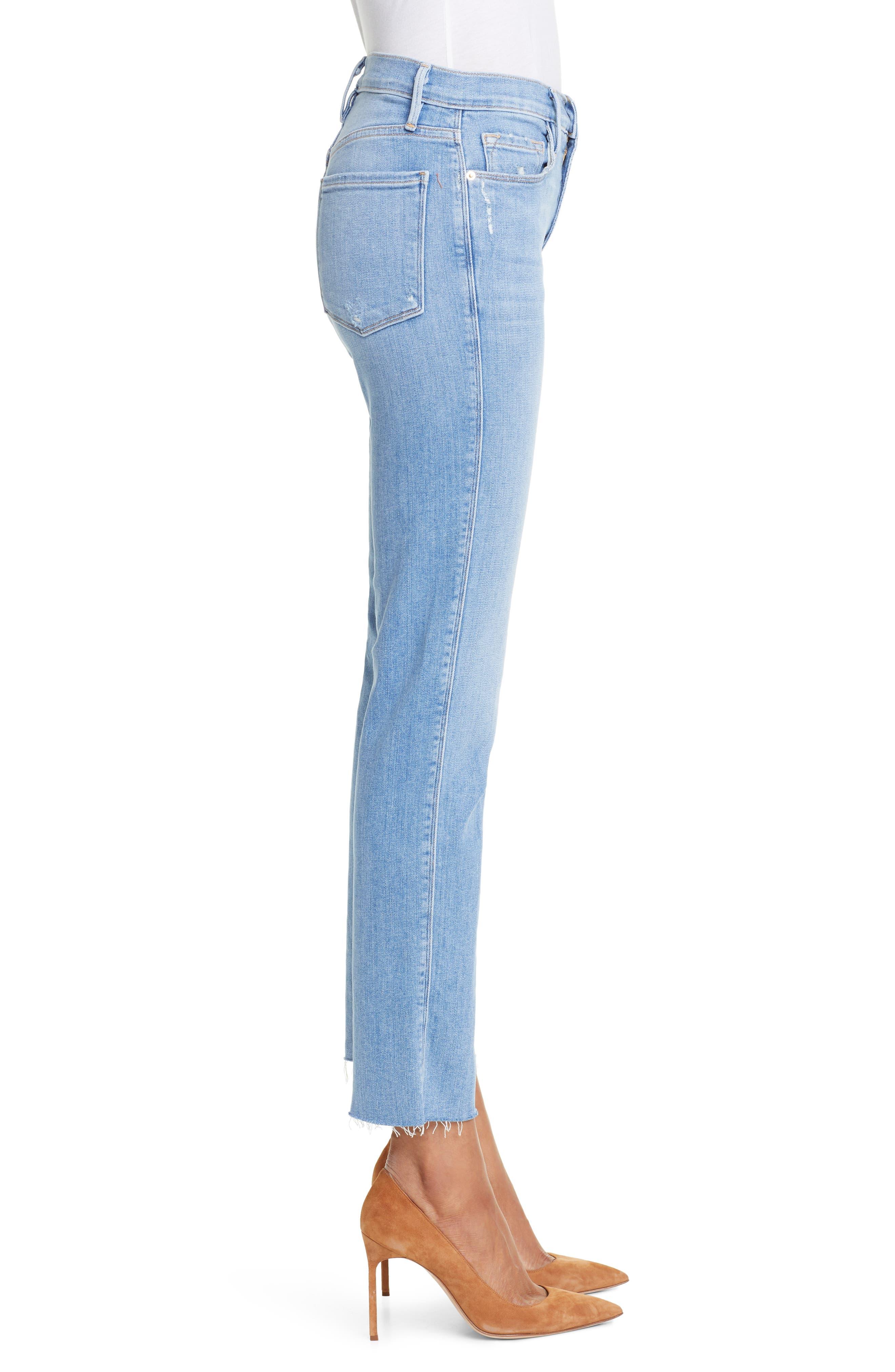 FRAME, Le Sylvie High Waist Raw Hem Straight Leg Jeans, Alternate thumbnail 4, color, OVERDRIVE