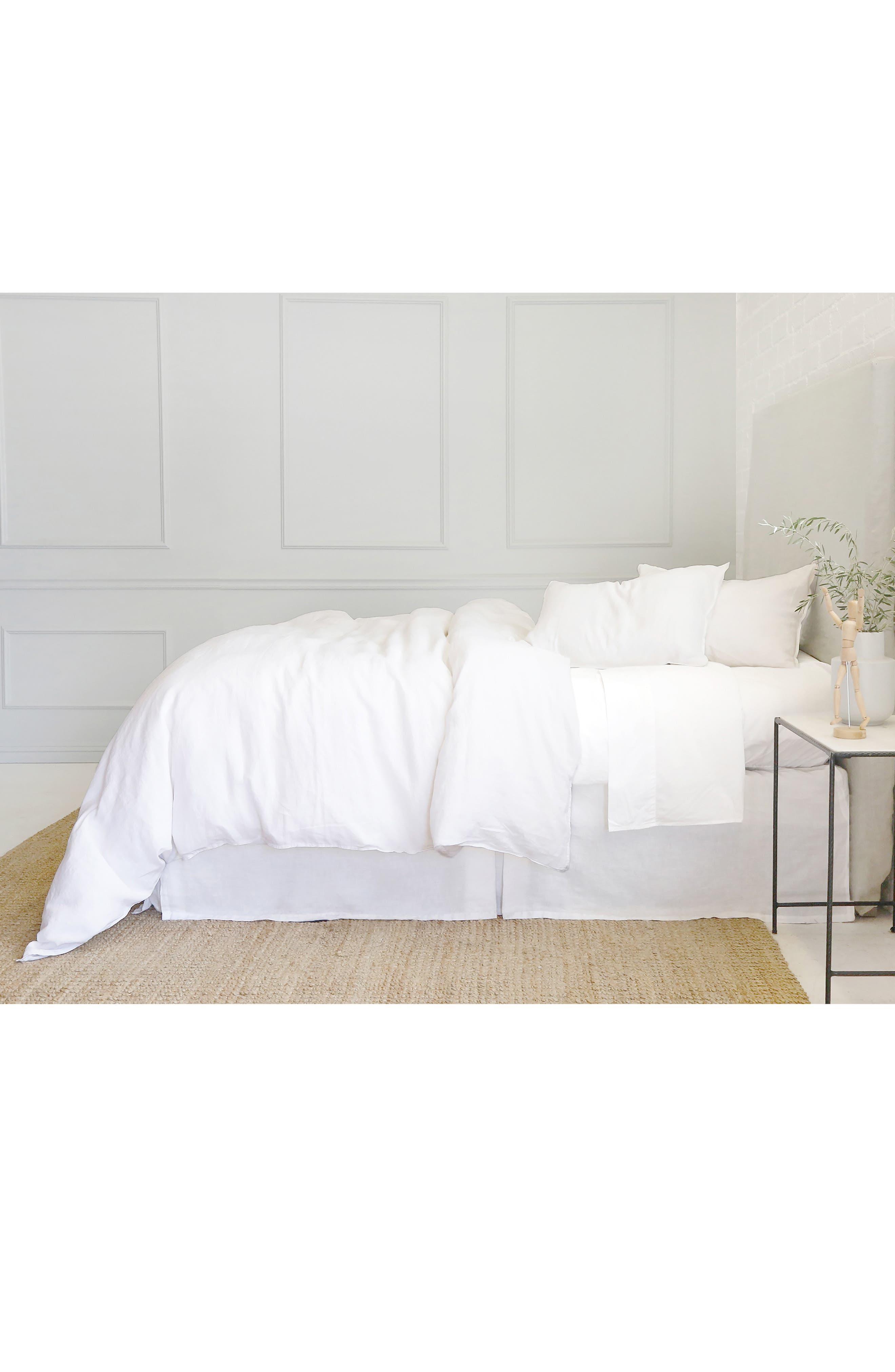 POM POM AT HOME, Parker Linen Duvet Cover & Sham Set, Alternate thumbnail 5, color, WHITE