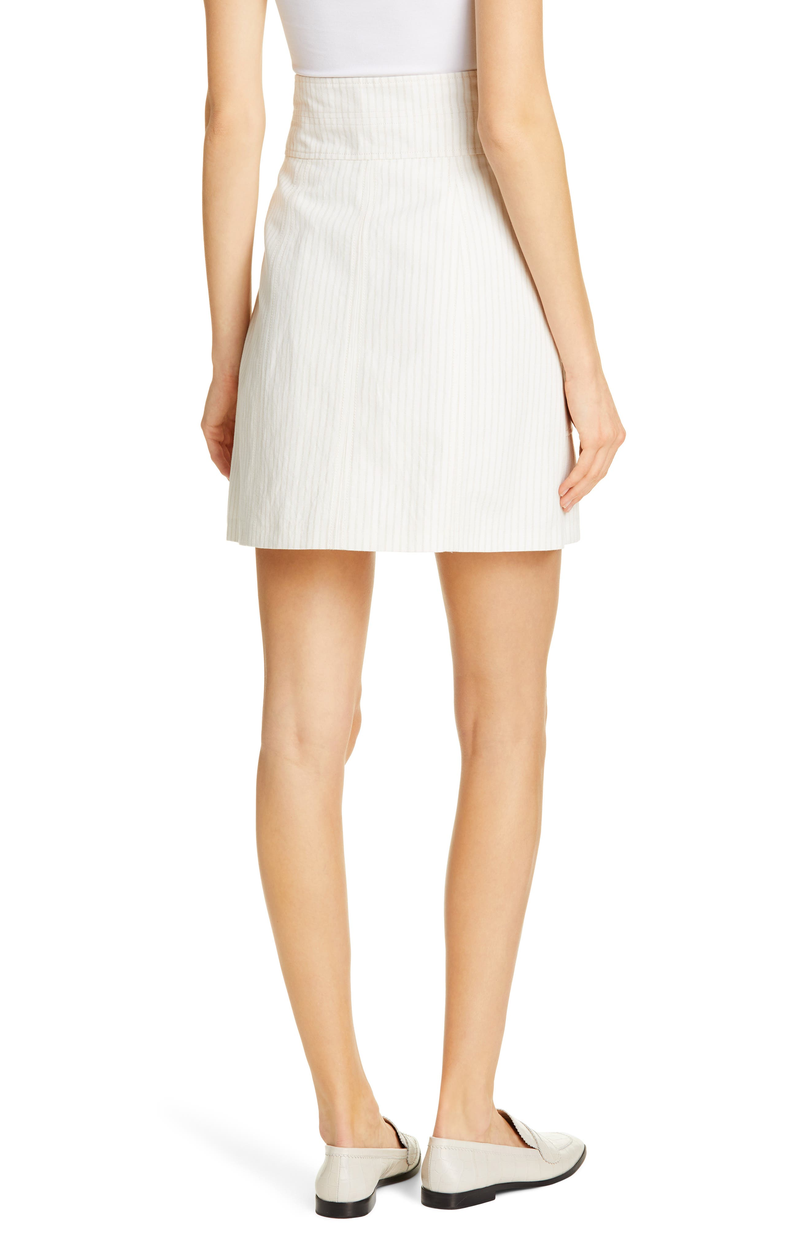 REBECCA TAYLOR, Zip Front Pinstripe Cotton & Linen Skirt, Alternate thumbnail 2, color, SNOW COMBO
