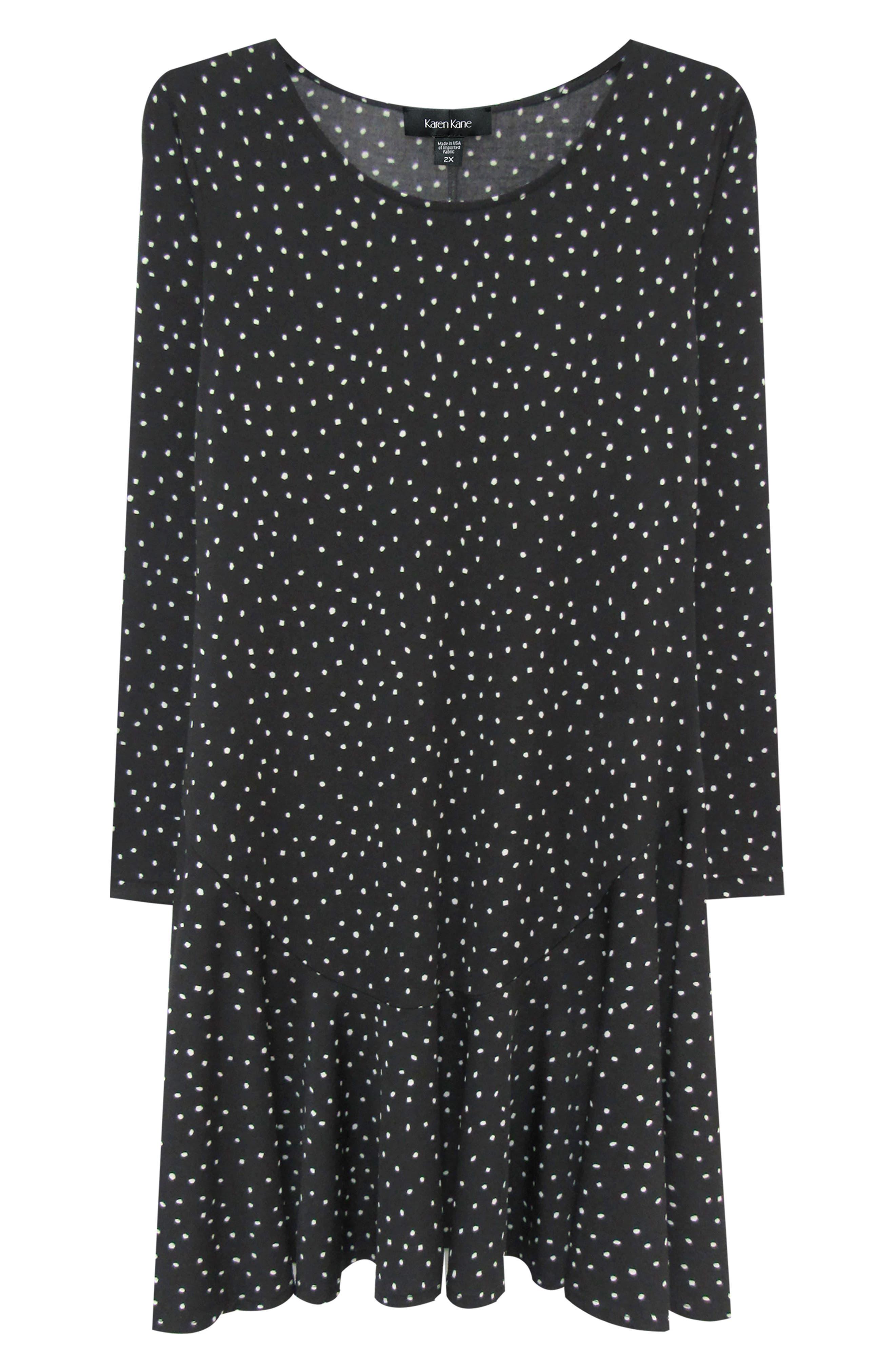 KAREN KANE, Dakota Dot Jersey A-Line Dress, Alternate thumbnail 3, color, DOT