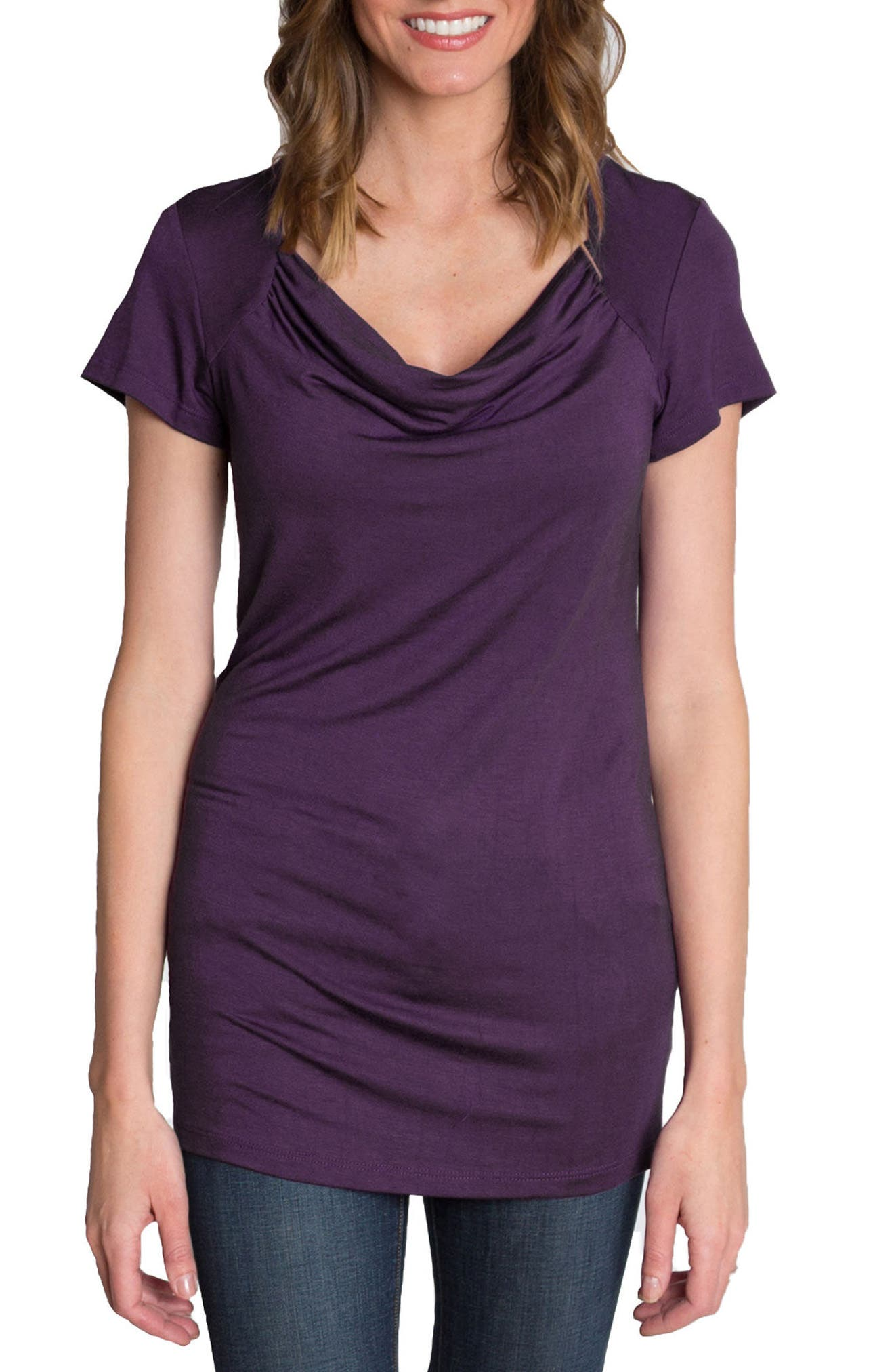 UDDERLY HOT MAMA, 'Chic' Cowl Neck Nursing Tee, Alternate thumbnail 2, color, PURPLE