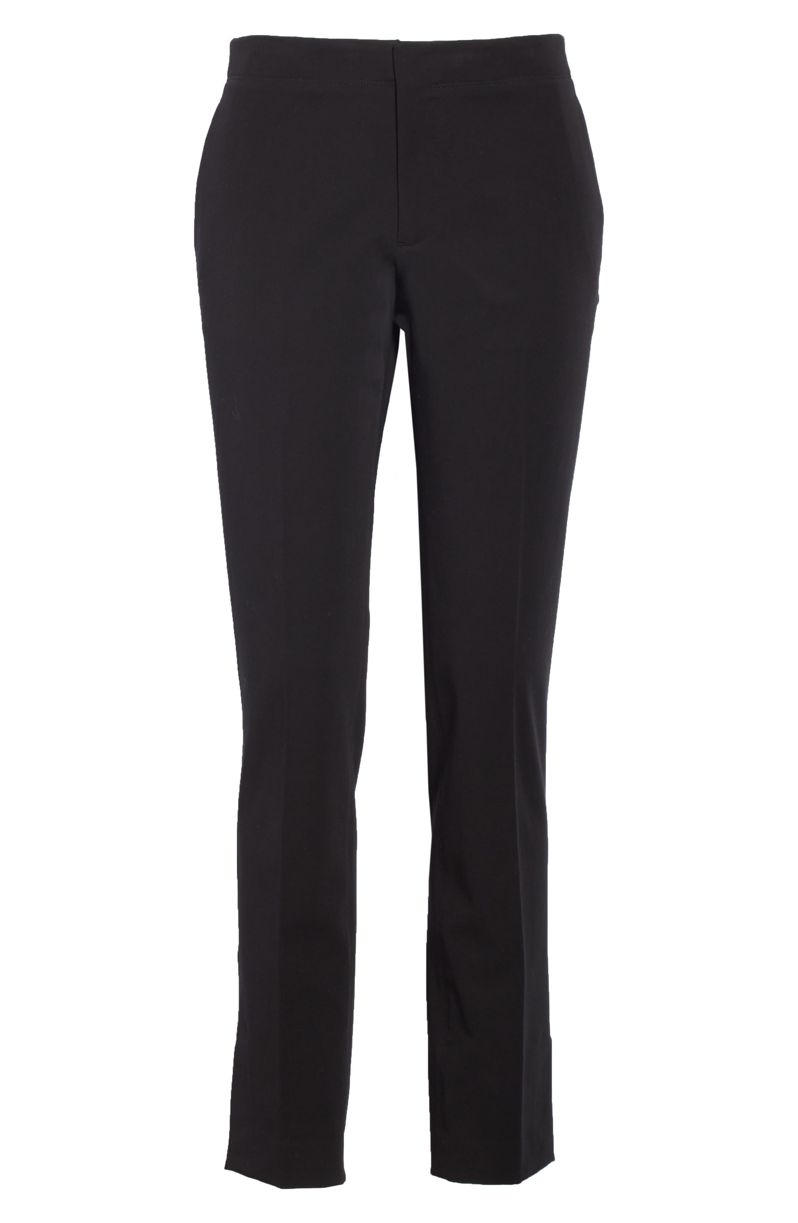 HELMUT LANG, Stretch Cotton Slim Trousers, Alternate thumbnail 6, color, BLACK