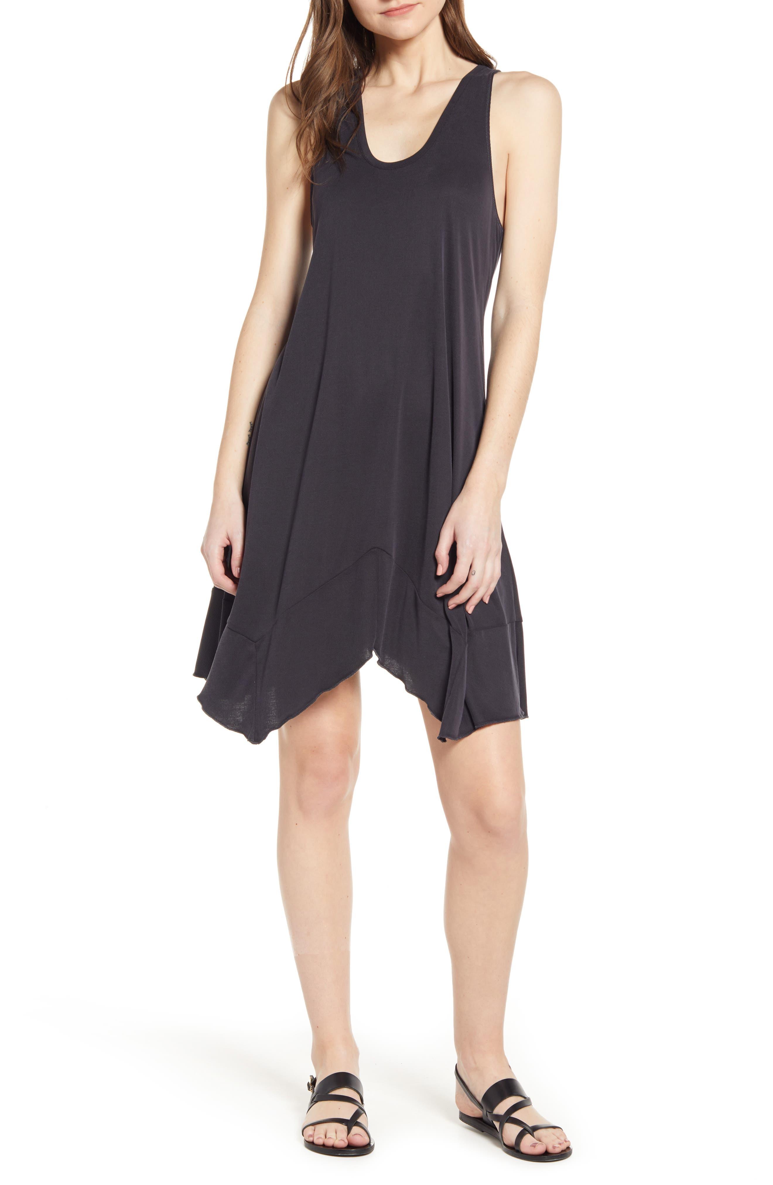 Splendid Asymmetrical Hem Washed Ribbed Jersey Dress, Black