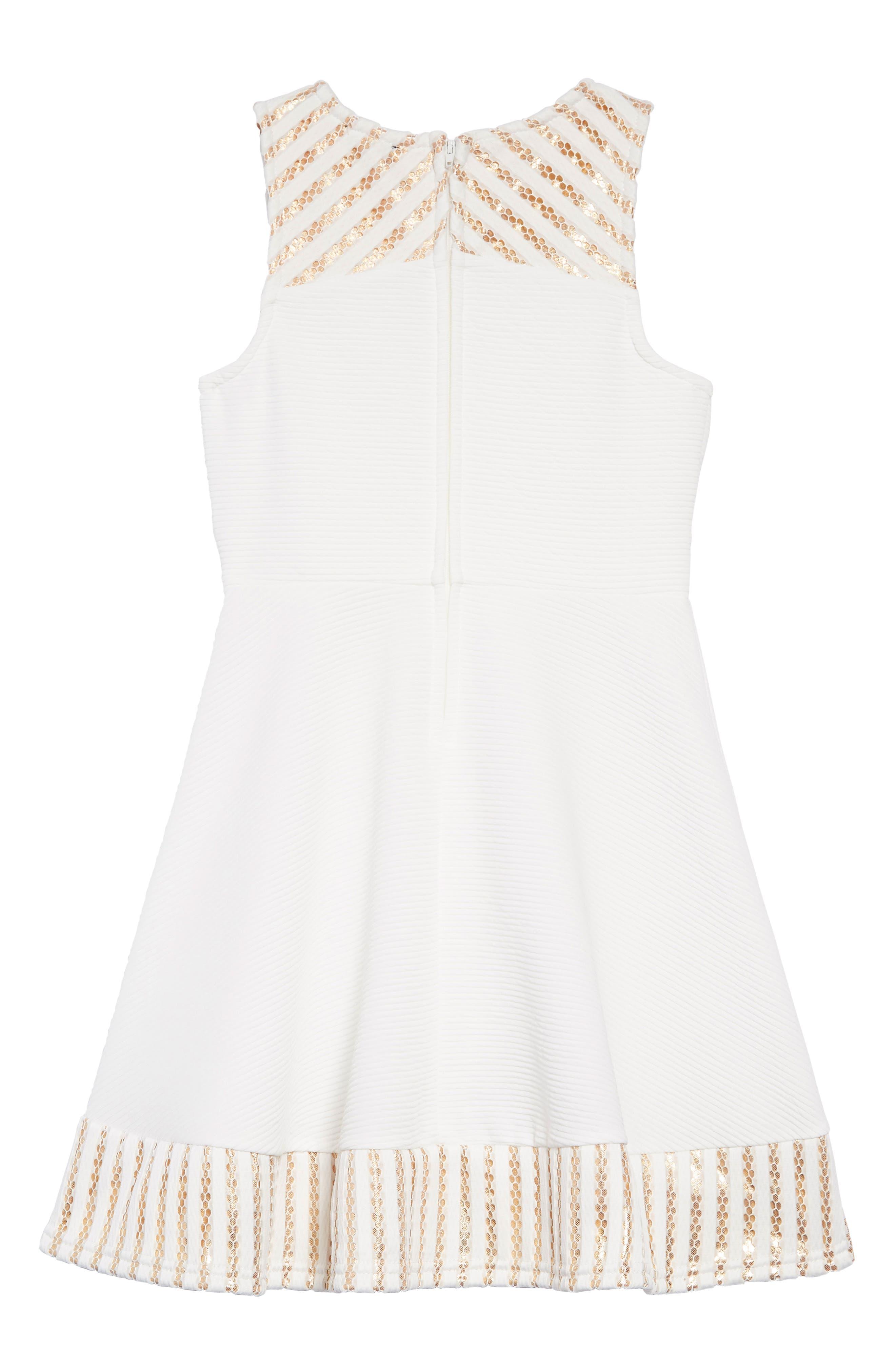 ZUNIE, Metallic Trim Ribbed Skater Dress, Alternate thumbnail 2, color, WHITE/GOLD