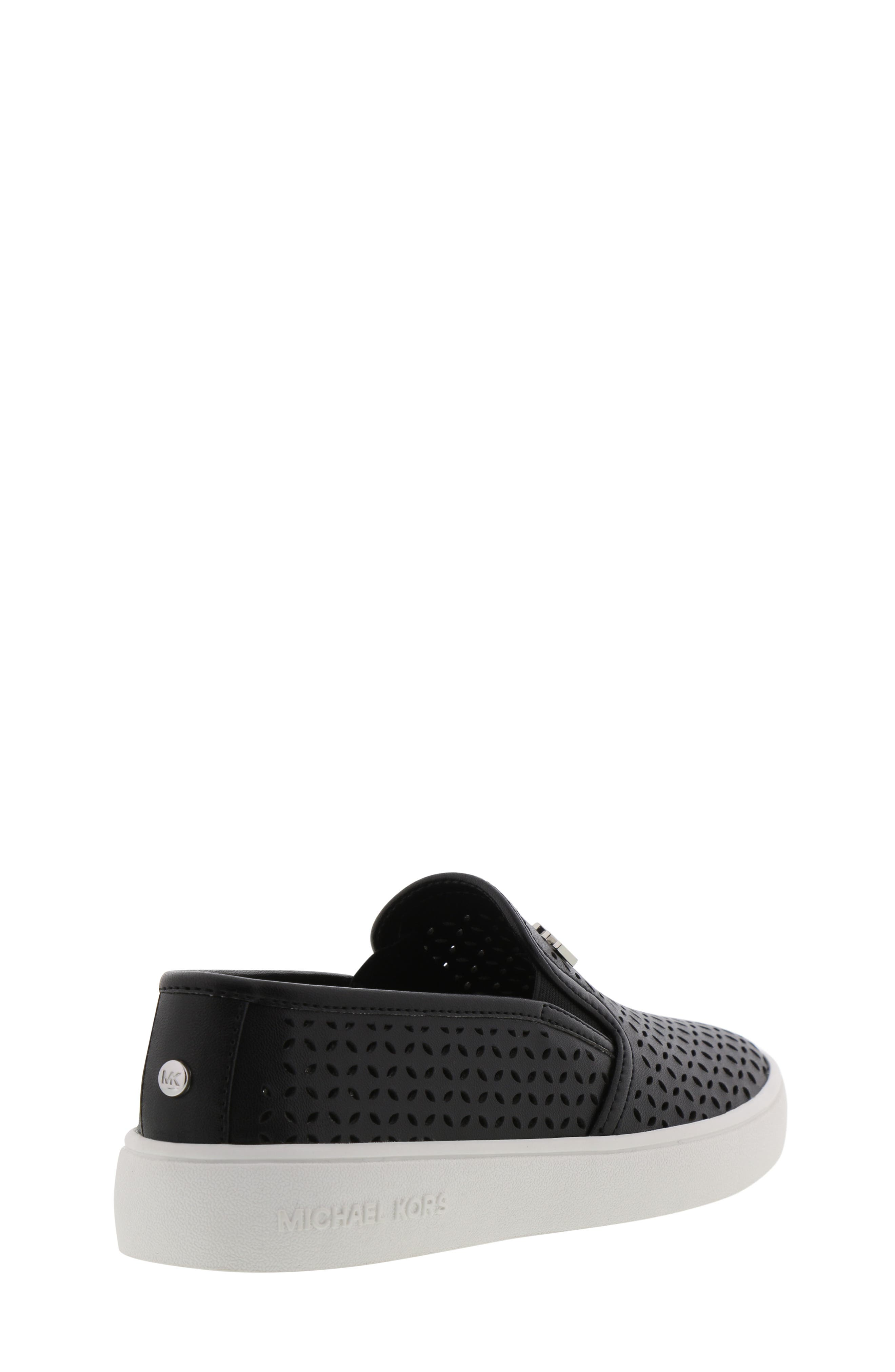 MICHAEL MICHAEL KORS, Jem Olivia Perforated Slip-On Sneaker, Alternate thumbnail 2, color, BLACK