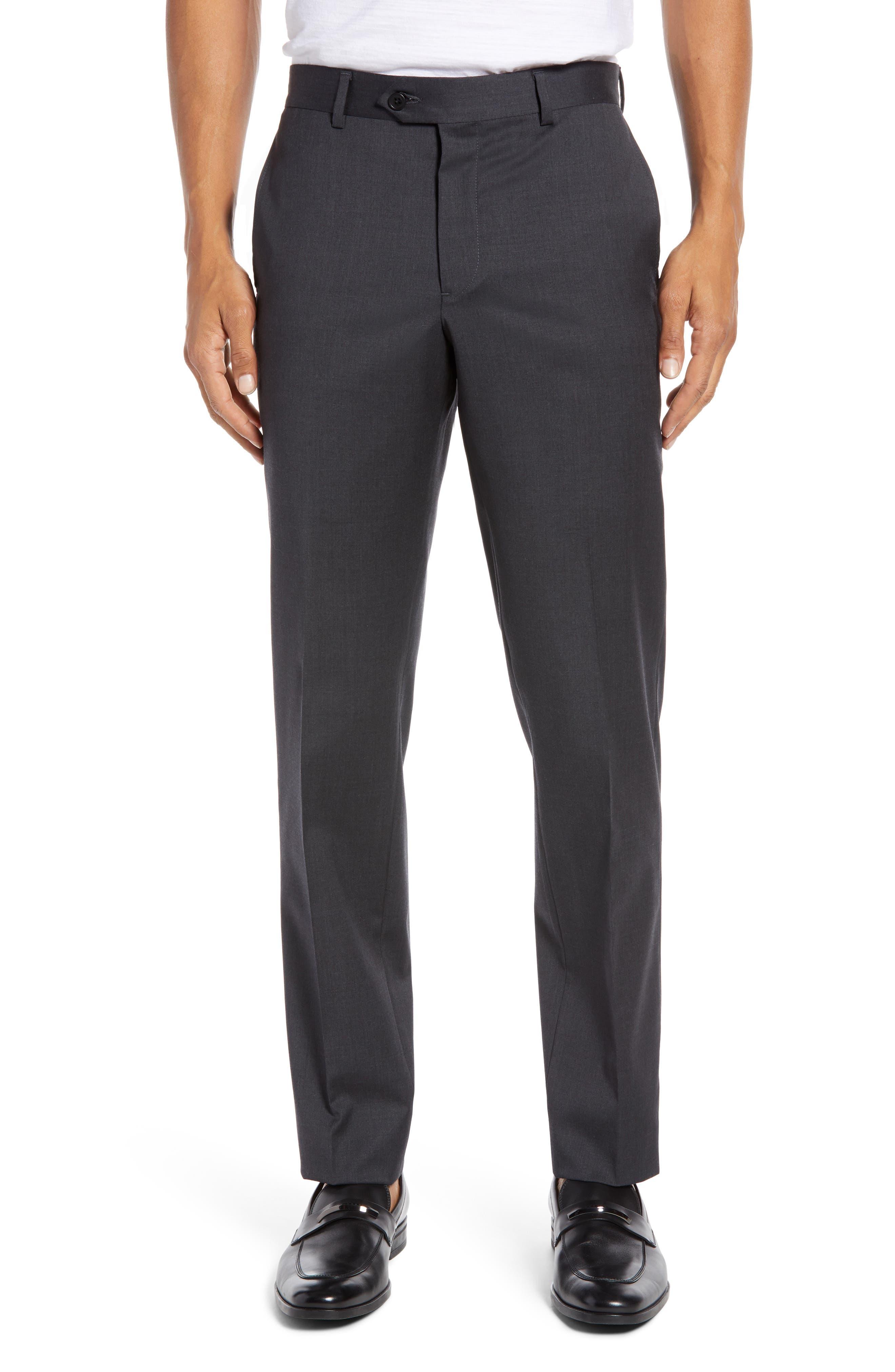 NORDSTROM MEN'S SHOP Trim Fit Stretch Wool Trousers, Main, color, CHARCOAL