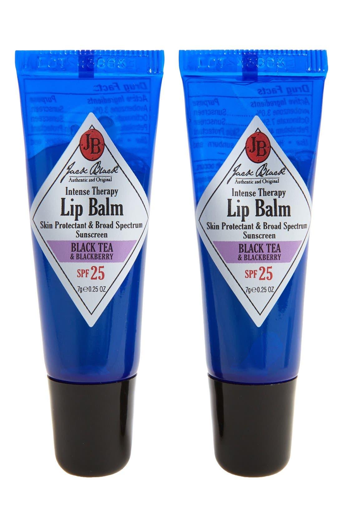 JACK BLACK, Intense Therapy Lip Balm SPF 25 Duo, Main thumbnail 1, color, BLACK TEA BLACKBERRY
