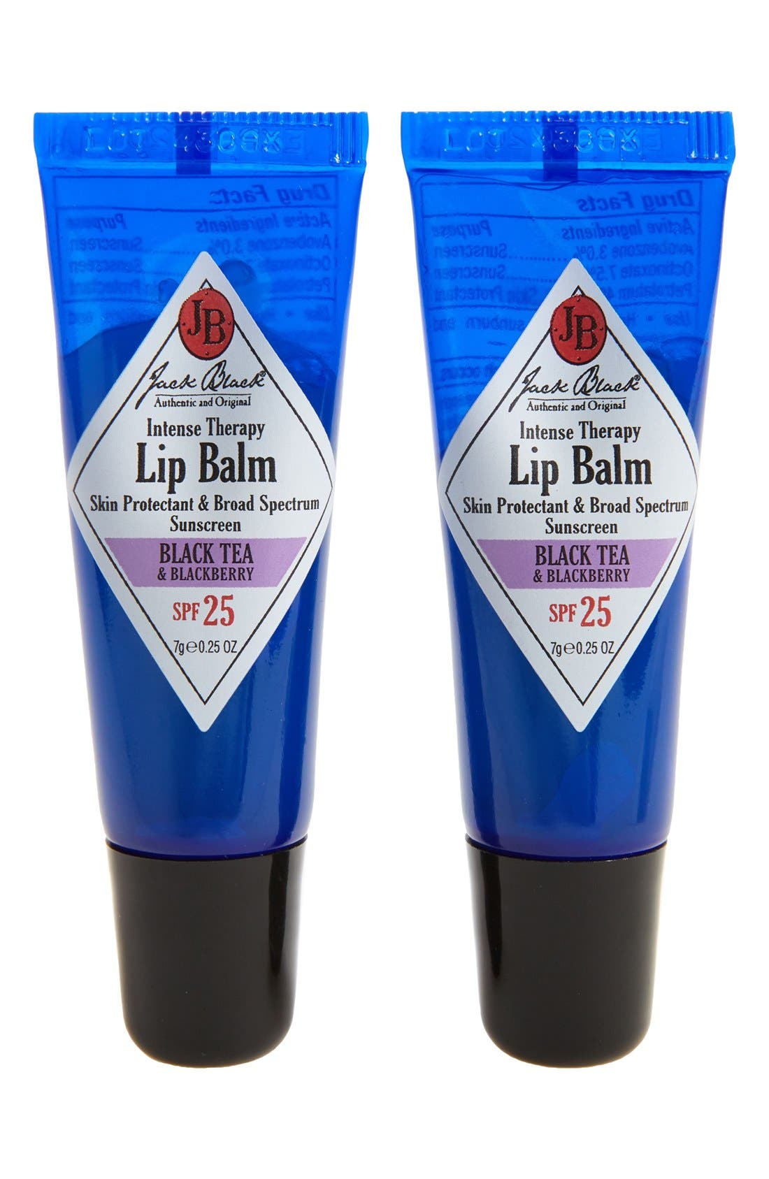 JACK BLACK Intense Therapy Lip Balm SPF 25 Duo, Main, color, BLACK TEA BLACKBERRY