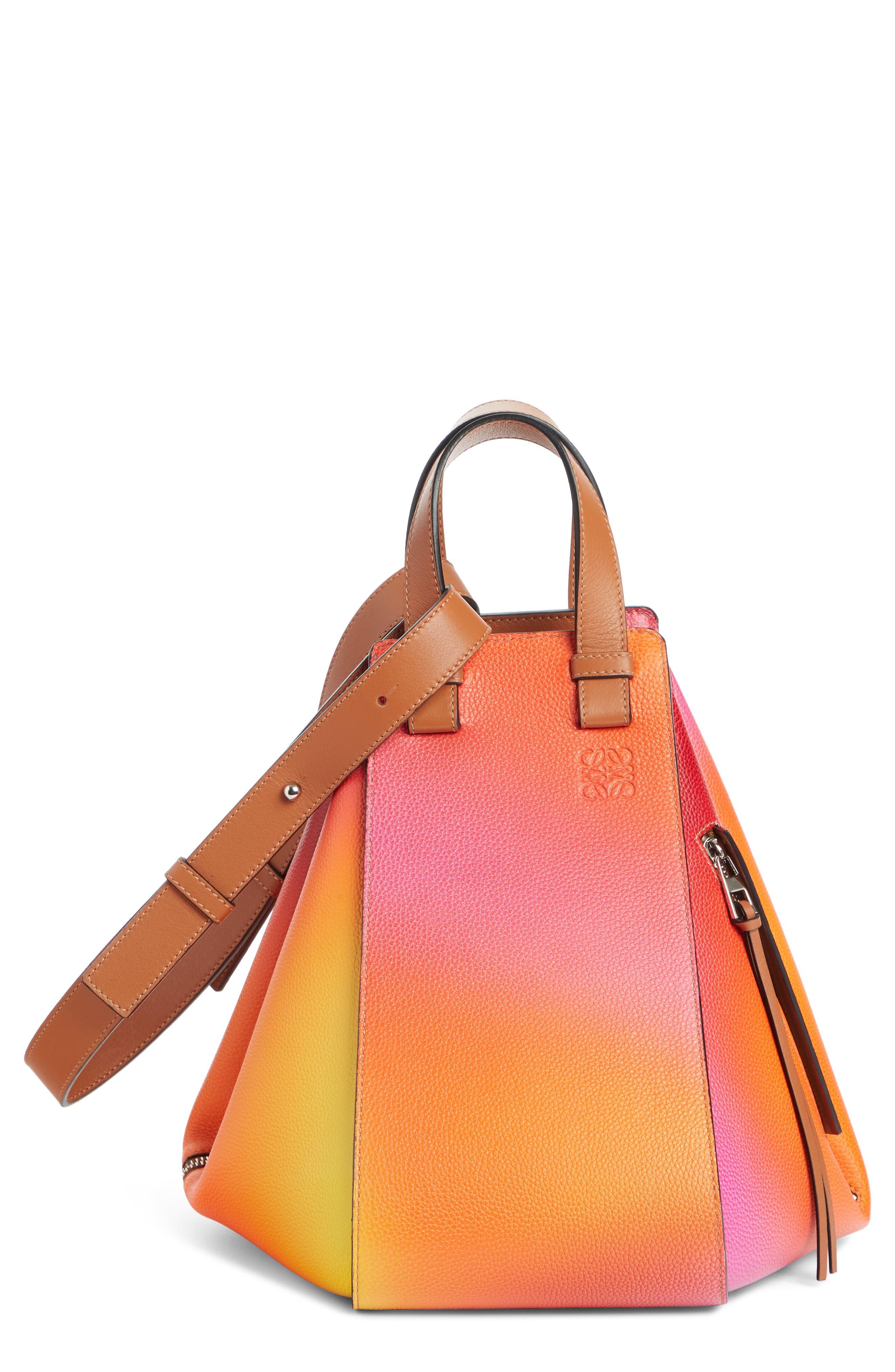 LOEWE Medium Ombré Leather Hobo, Main, color, ORANGE SUNSET