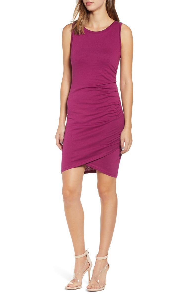 LEITH Ruched Body-Con Tank Dress, Main, color, PURPLE MAGENTA