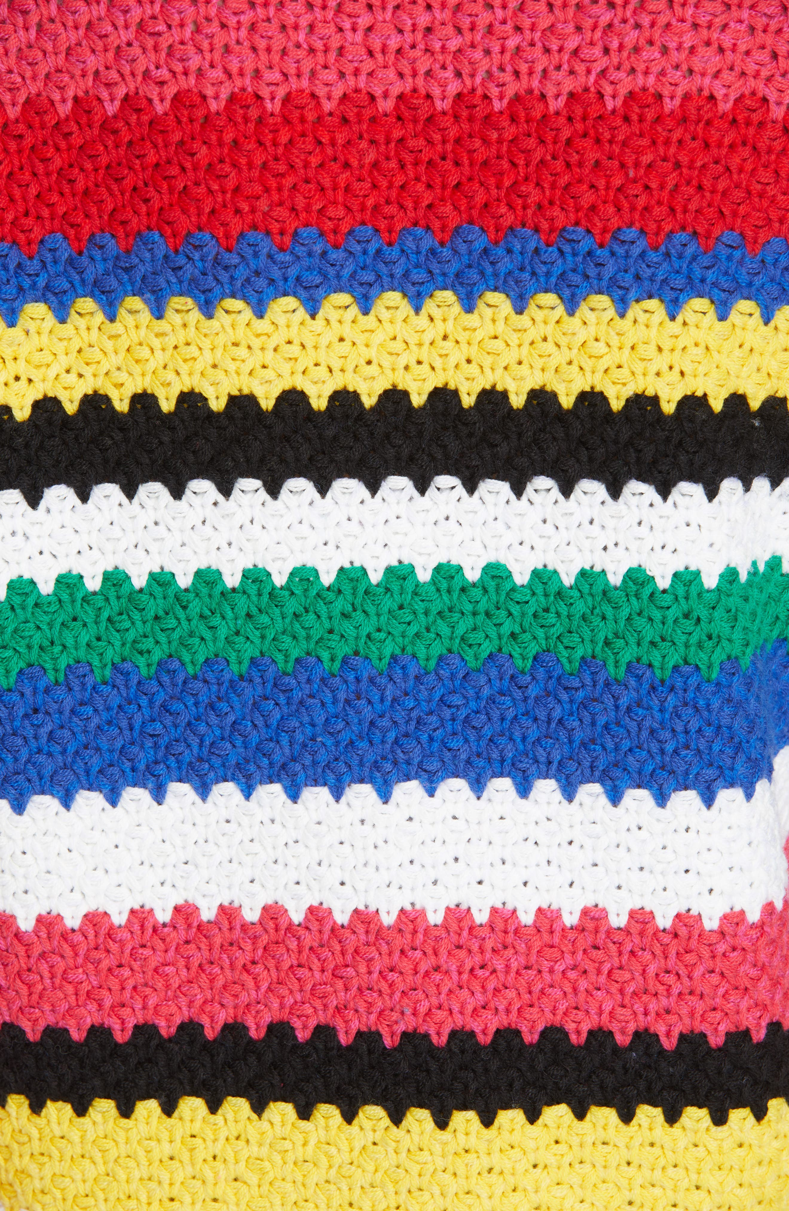 ALICE + OLIVIA, Alivia Stripe Bell Sleeve Cotton Blend Sweater, Alternate thumbnail 5, color, MULTI