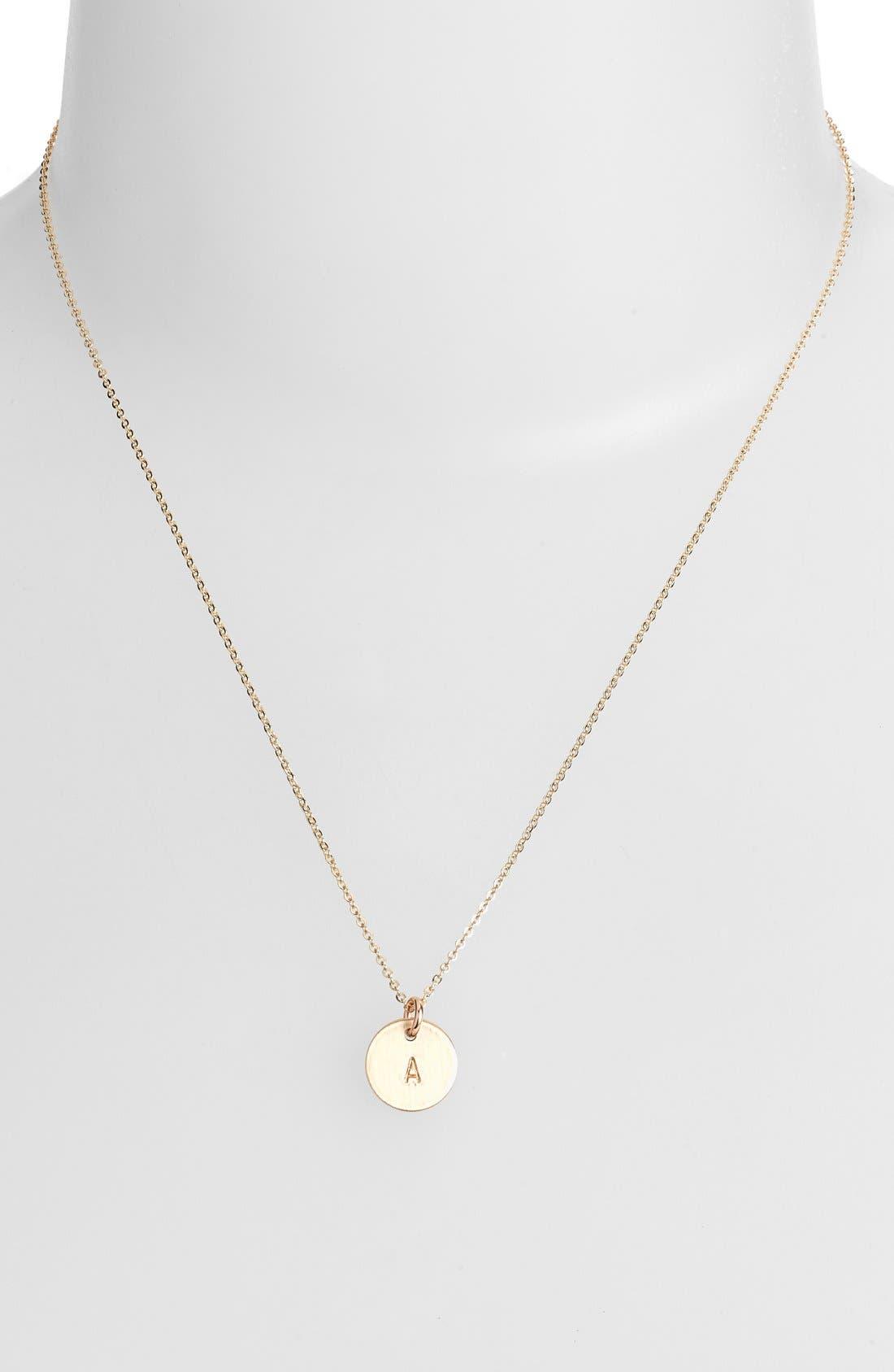 NASHELLE, 14k-Gold Fill Initial Mini Circle Necklace, Alternate thumbnail 2, color, 14K GOLD FILL A